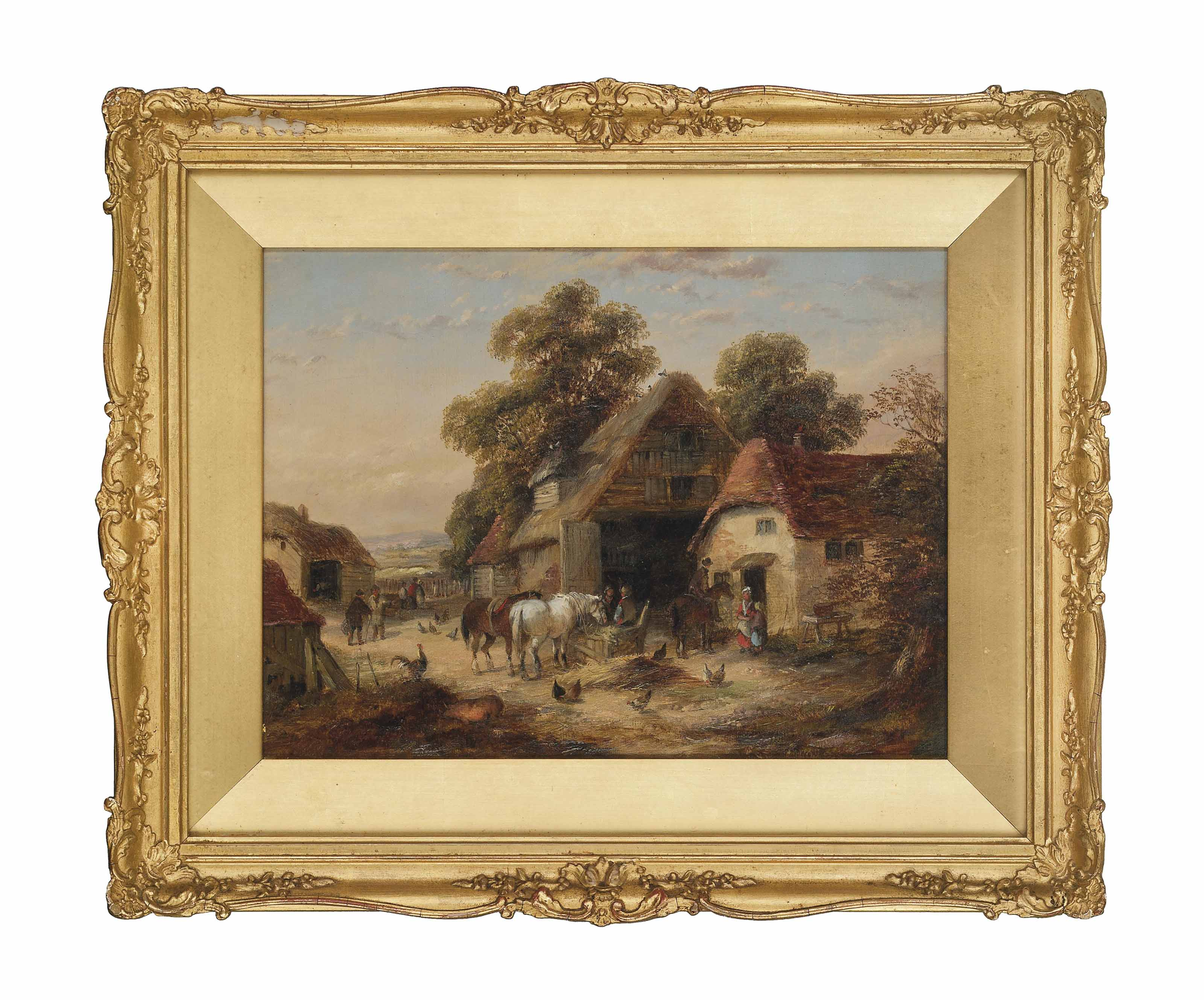 Harvest time; and Feeding the horses, a busy village scene