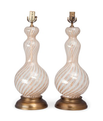 A pair of venetian murano glass table lamps mid 20th century a pair of venetian murano glas aloadofball Image collections