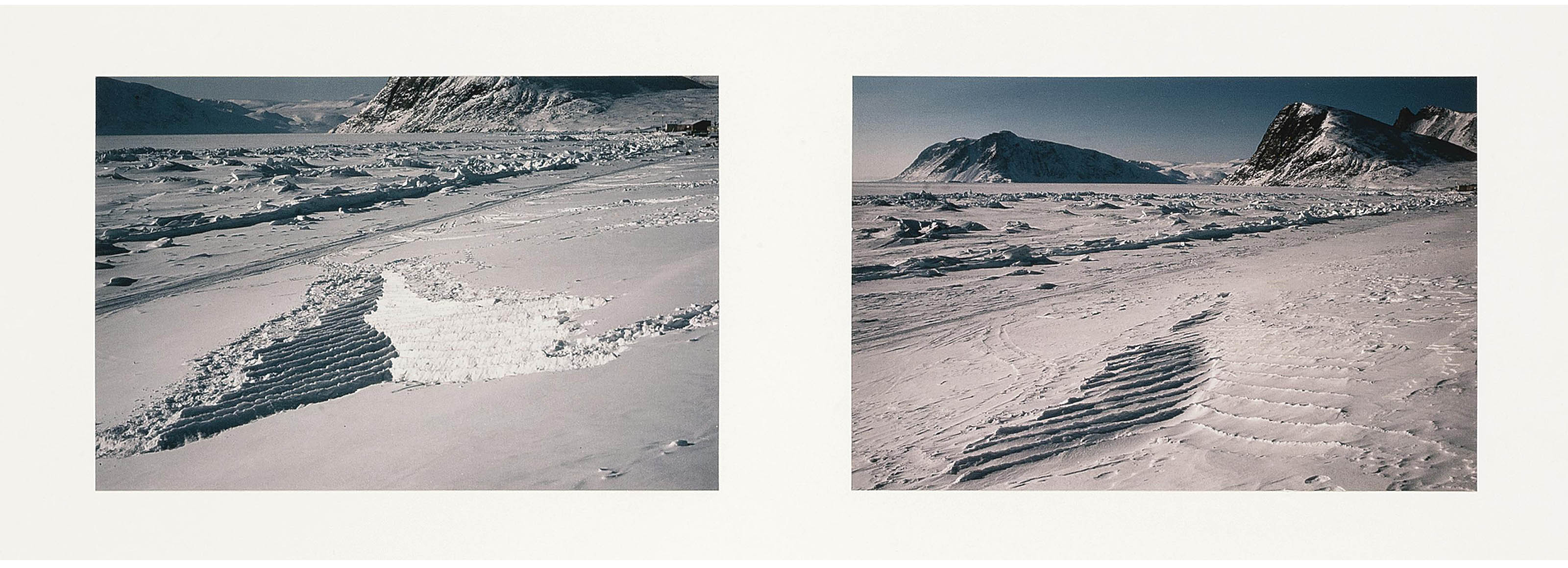 Soft snow/brought to an edge/hand packed/froze hard/remaining until winds came/covered by drifting snow, Grise Fjord, Ellesmere Island, 11, 12 April 1989