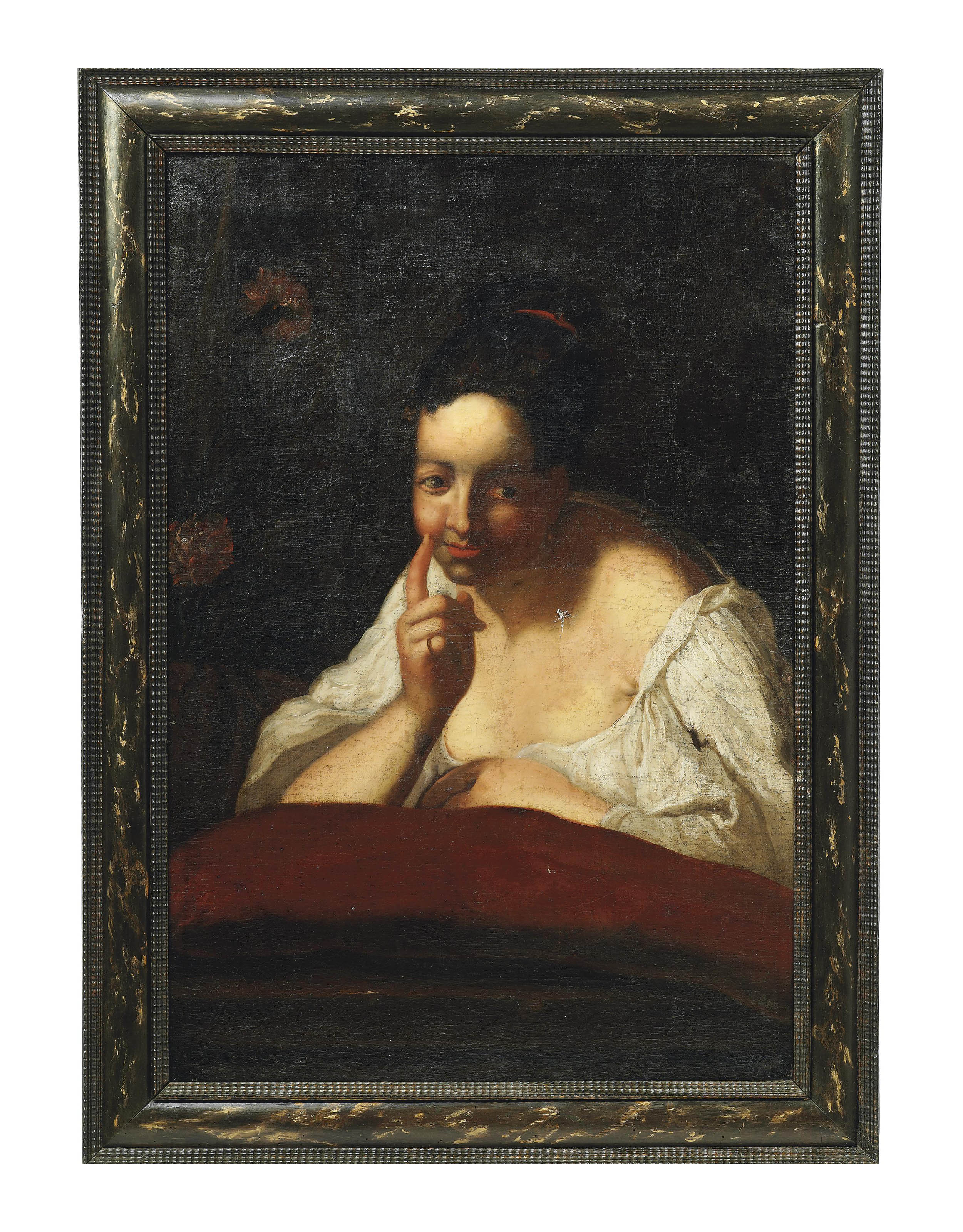 Portrait of a lady, bust-length, in a white chemise
