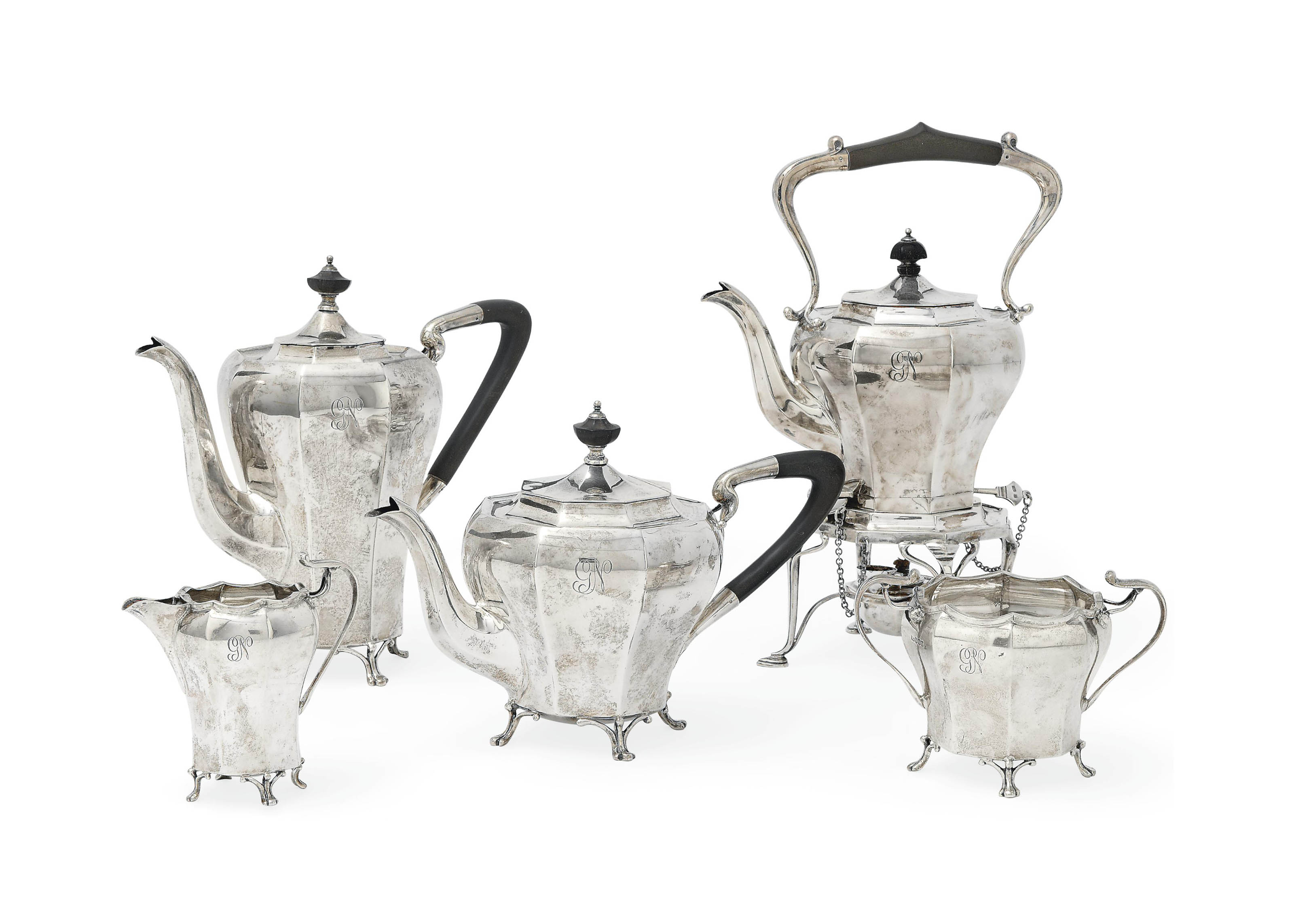 A FOUR-PIECE OCTAGONAL SILVER TEA AND COFFEE SET