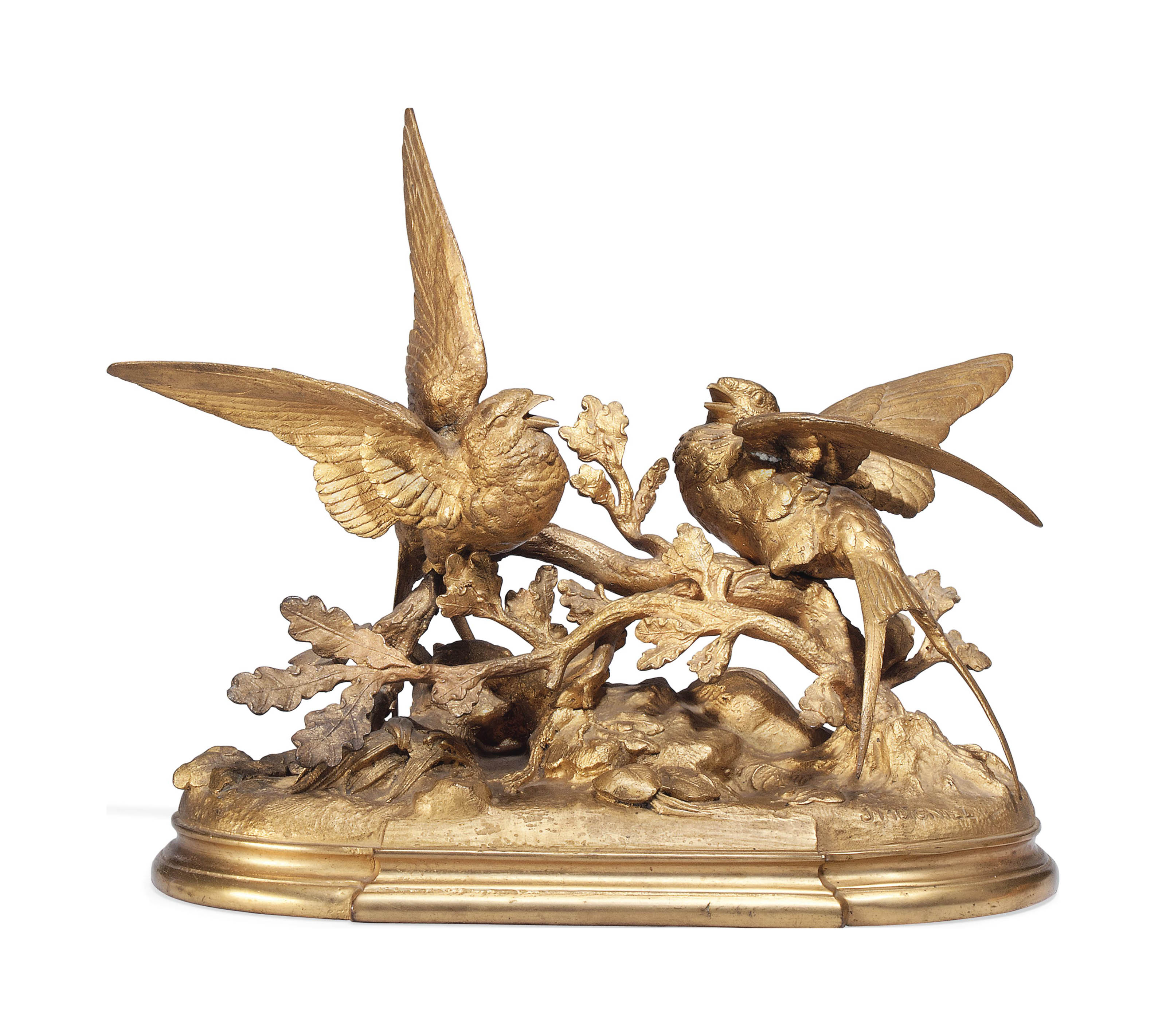 A FRENCH GILT BRONZE GROUP OF TWO SWALLOWS