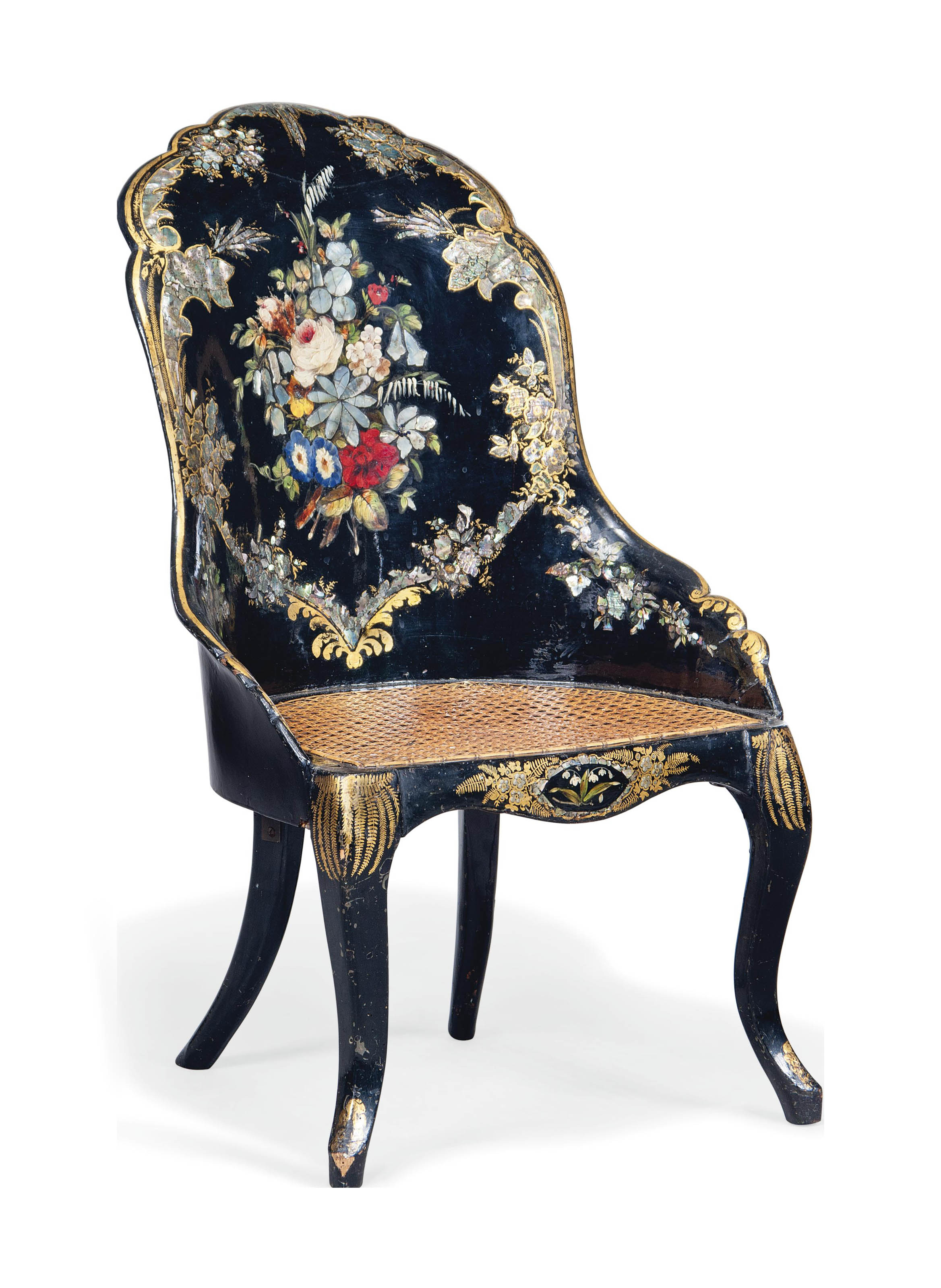 A VICTORIAN GILT, POLYCHROME JAPANNED AND MOTHER-OF-PEARL INLAID PAPIER MACHE ARMCHAIR
