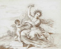 A seated classical maiden and a putti