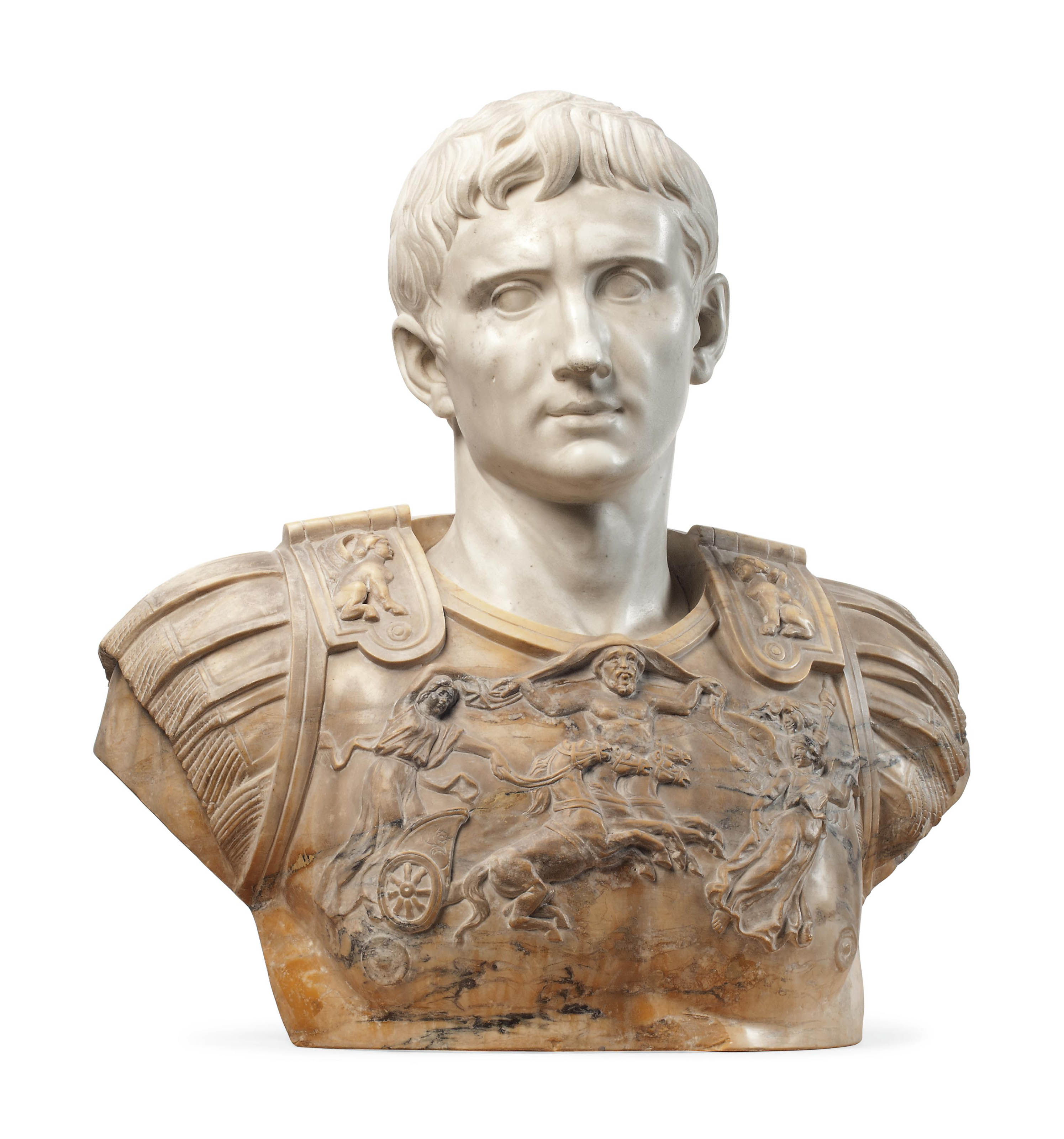 AN ITALIAN CARVED WHITE AND SIENA MARBLE BUST OF CAESAR AUGUSTUS