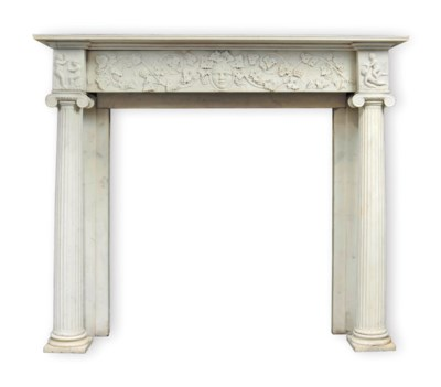 A CARVED WHITE-MARBLE CHIMNEYP