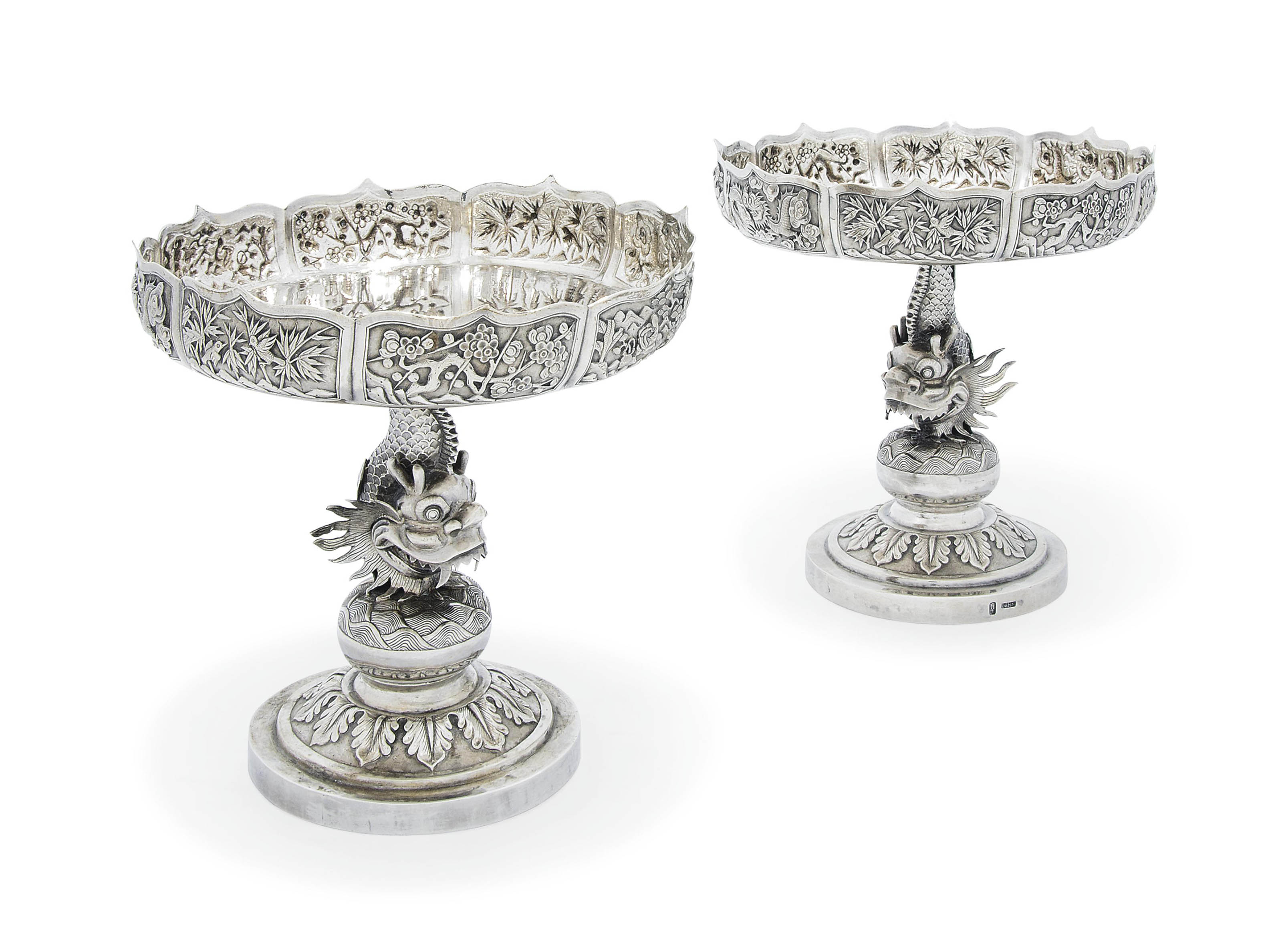 A PAIR OF CHINESE EXPORT SILVER TAZZE