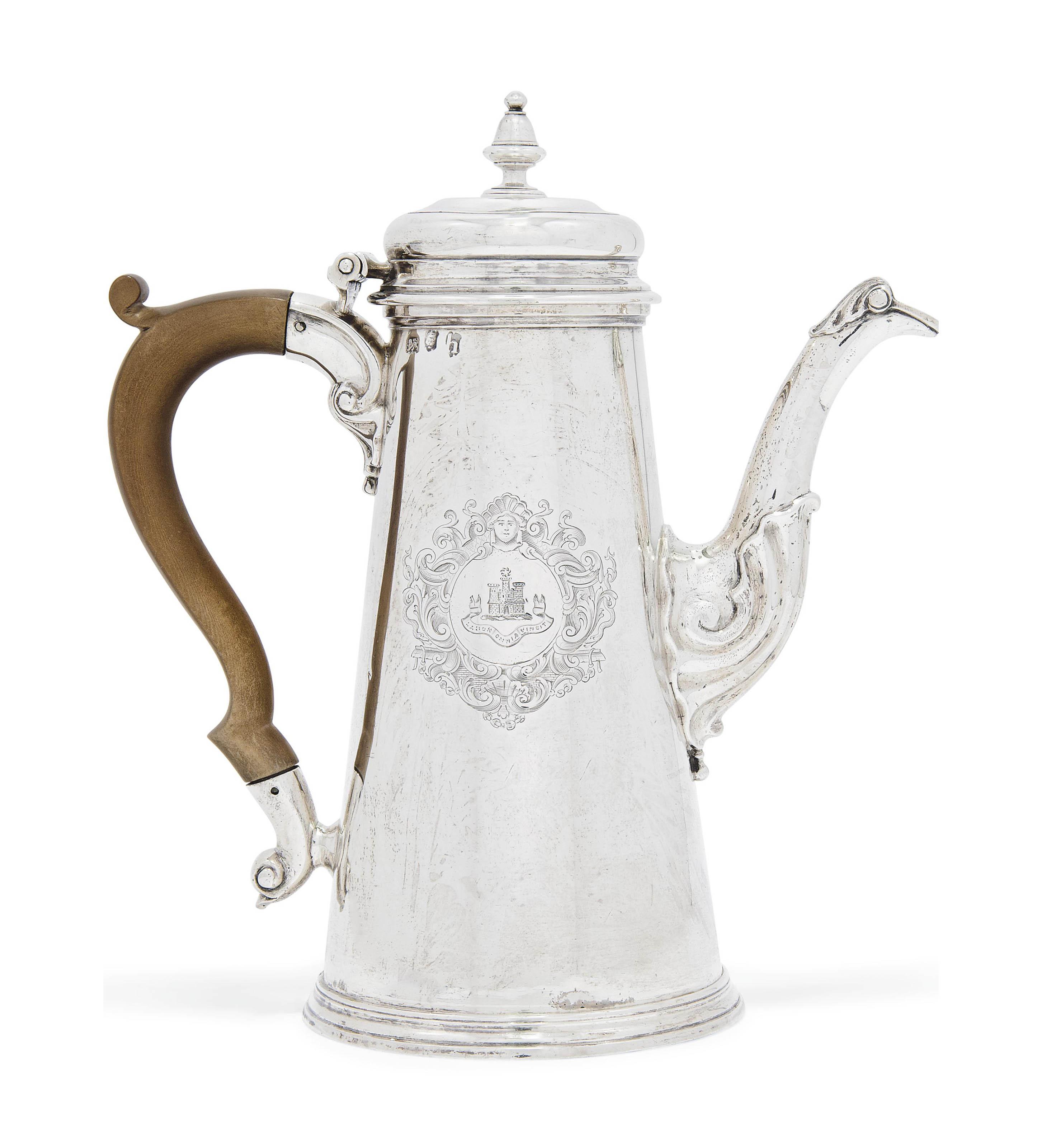 A GEORGE II SILVER COFFEE POT , MARK OF JOHN SWIFT, LONDON