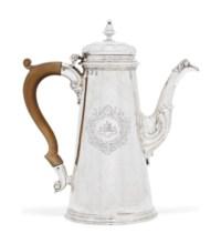 A GEORGE II SILVER COFFEE POT