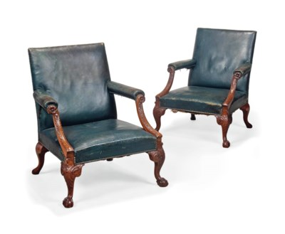 A PAIR OF MAHOGANY GAINSBOROUG