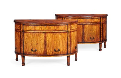 A PAIR OF MARQUETRY AND SANTOS