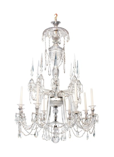 A CUT GLASS EIGHT LIGHT CHANDE