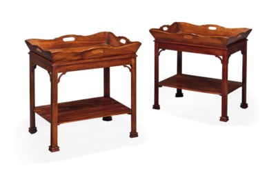A PAIR OF MAHOGANY TRAYS ON ST