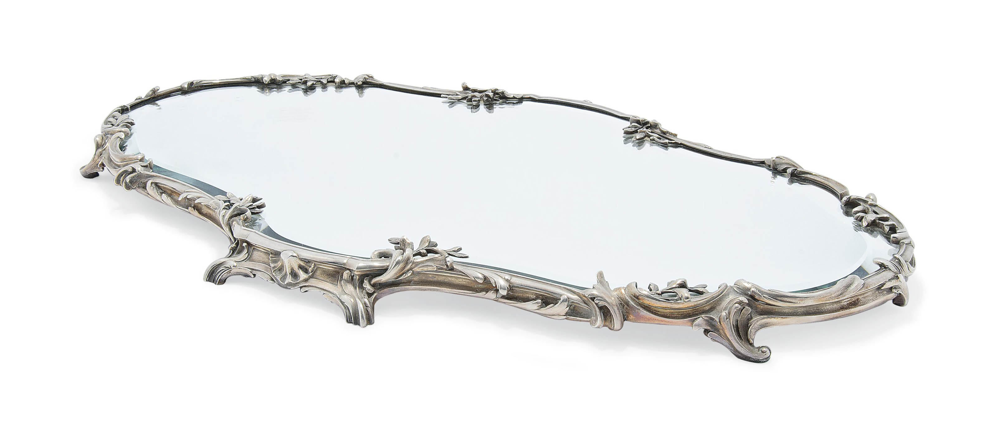 A BELGIAN SILVER-MOUNTED MIRROR PLATEAU