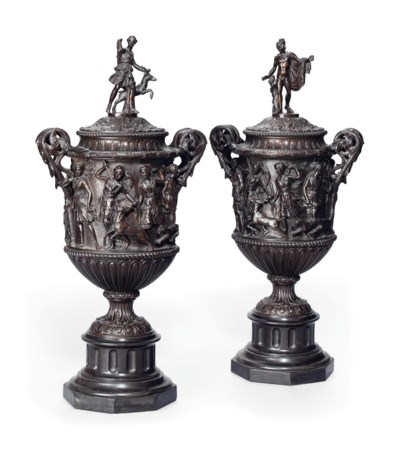 A PAIR OF FRENCH BRONZE VASES