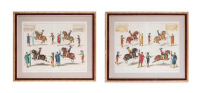 FOUR HAND-COLOURED ENGRAVINGS