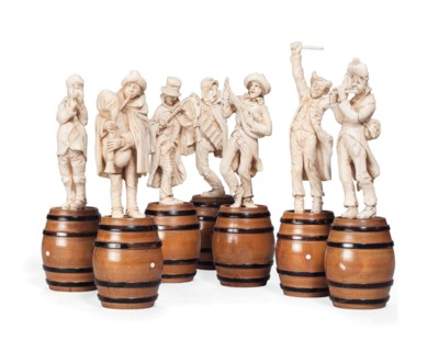 A GROUP OF SEVEN DIEPPE IVORY