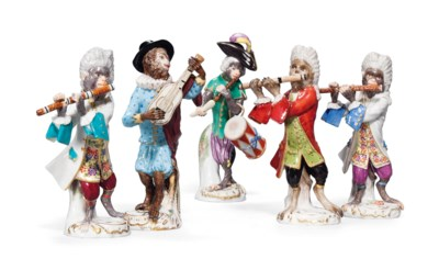 FIVE MEISSEN MONKEY BAND FIGUR