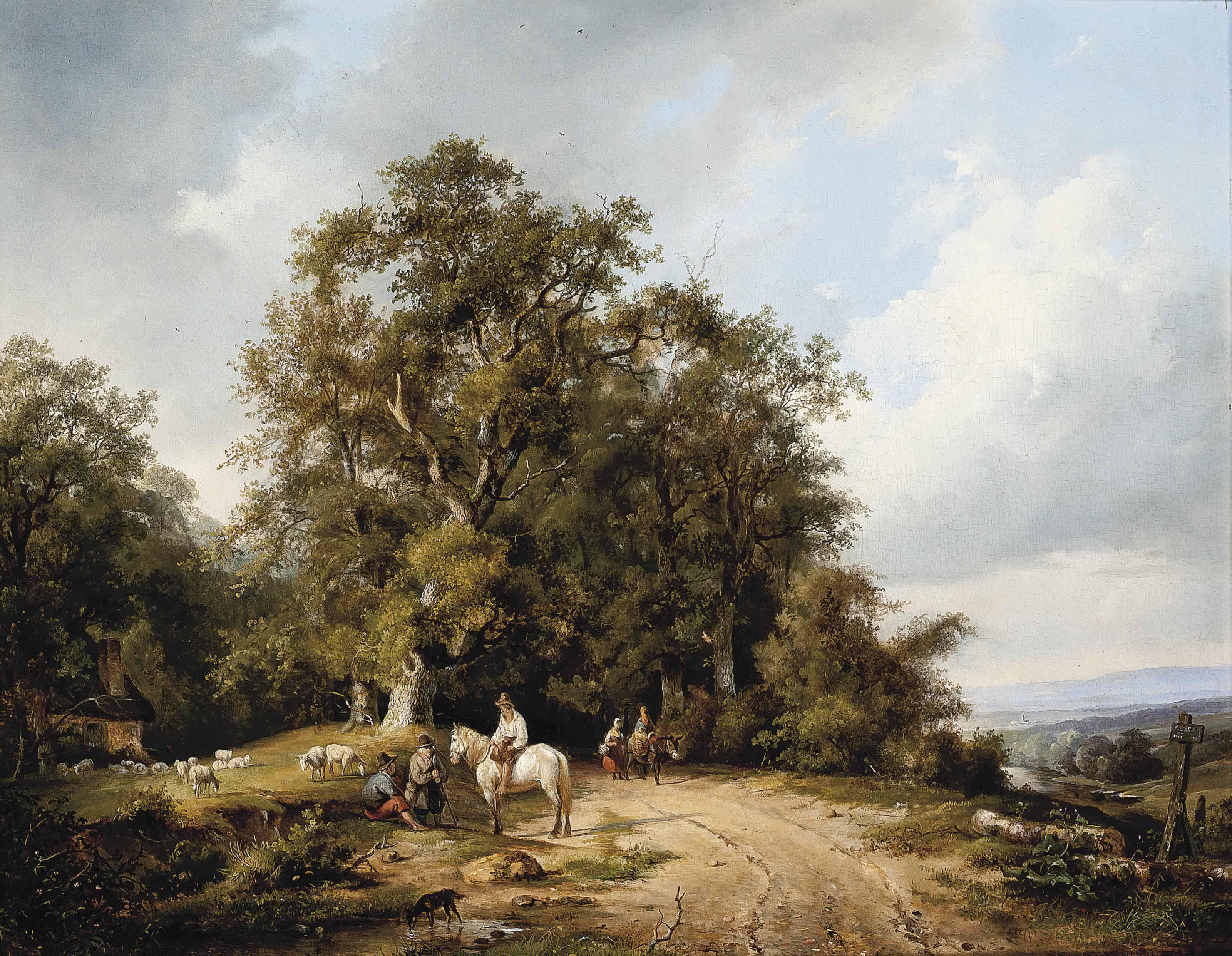 Travellers in a Dutch landscape
