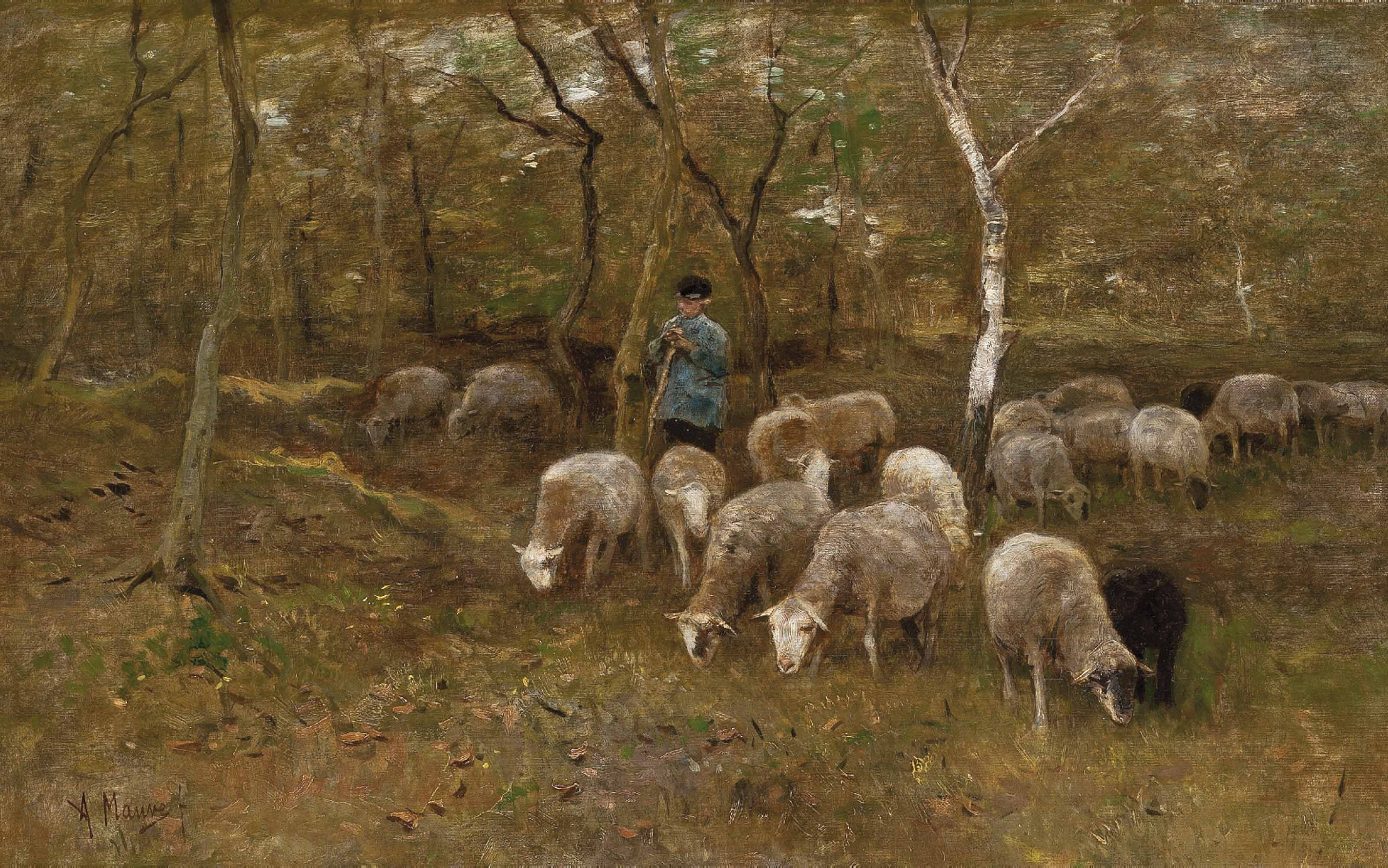 A shepherd with his flock in the woods