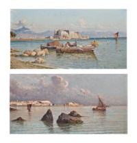 Fishermen before the Castel dell'Ovo; and On the Bay of Naples, Vesuvius beyond