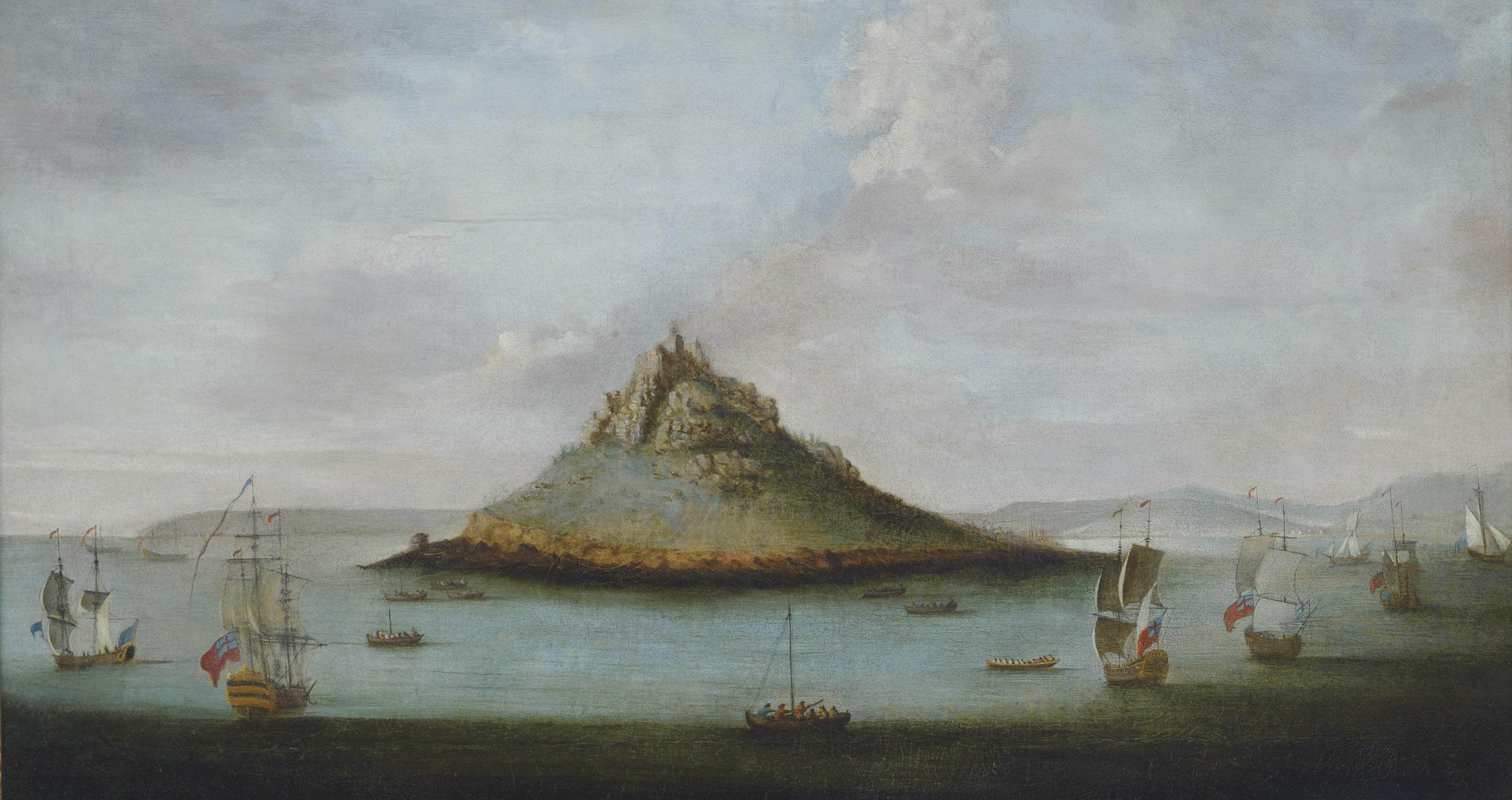 An English squadron off St. Michael's Mount, Cornwall