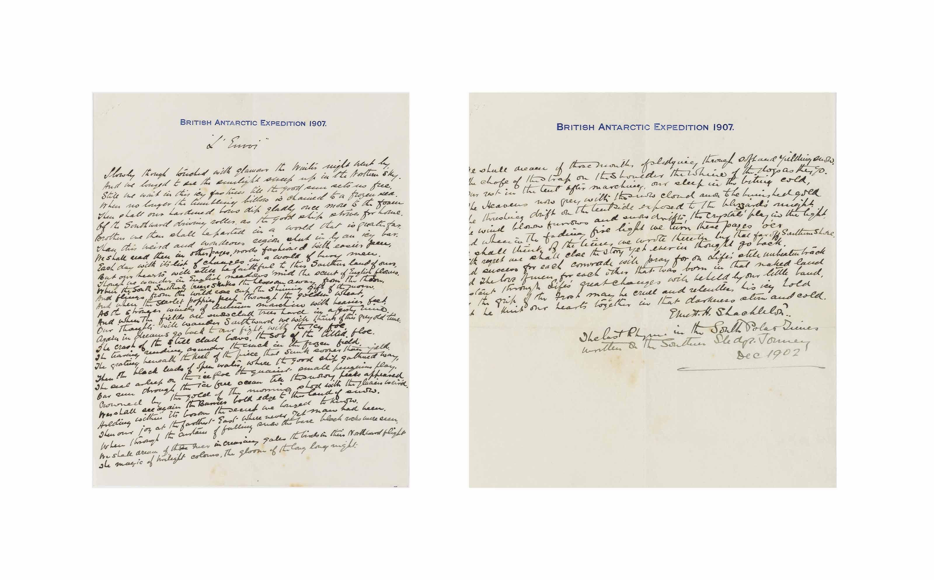 BRITISH NATIONAL ANTARCTIC EXPEDITION, 1901-1904 -- ERNEST HENRY SHACKLETON (1874-1922)