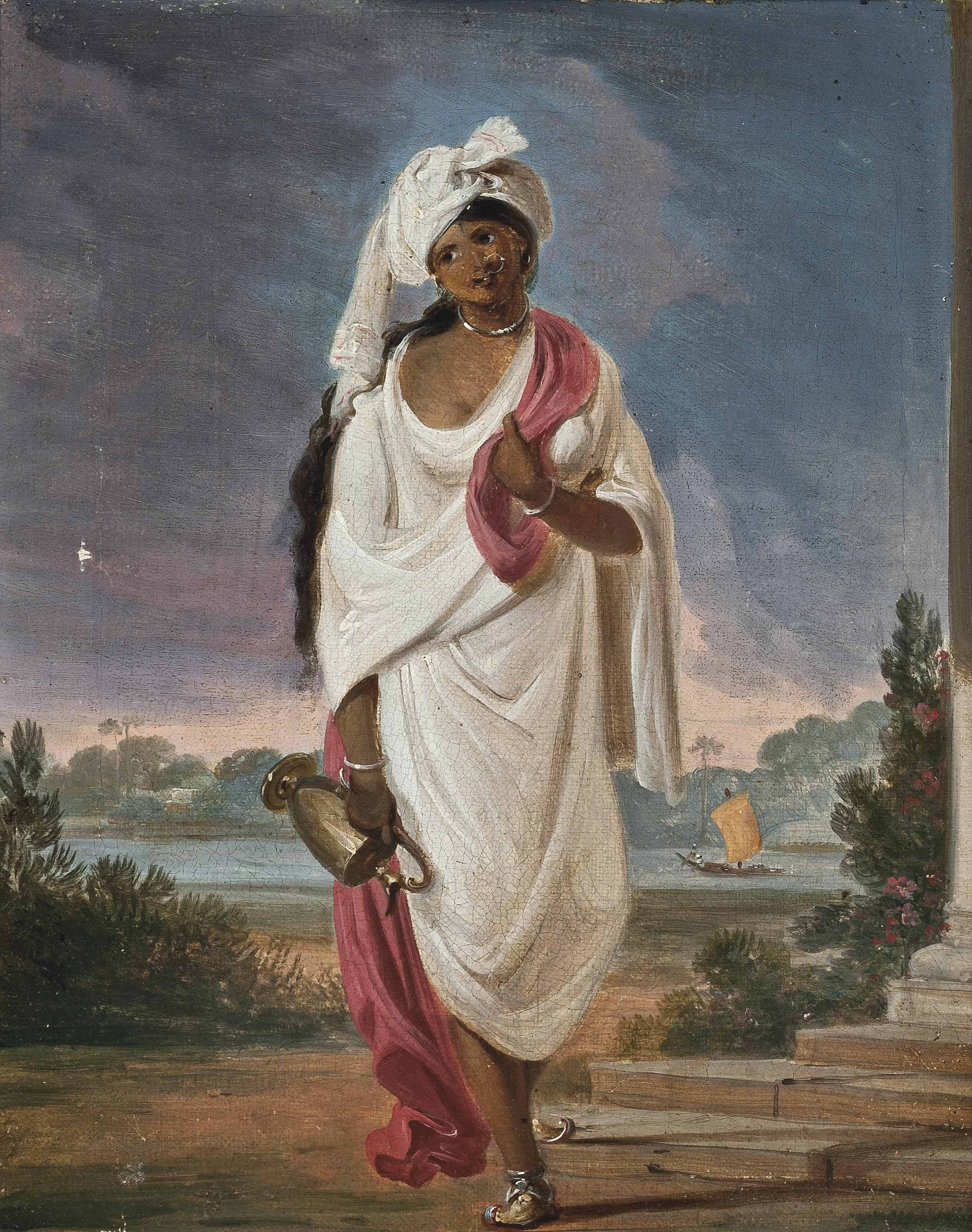 Indian woman with a river beyond