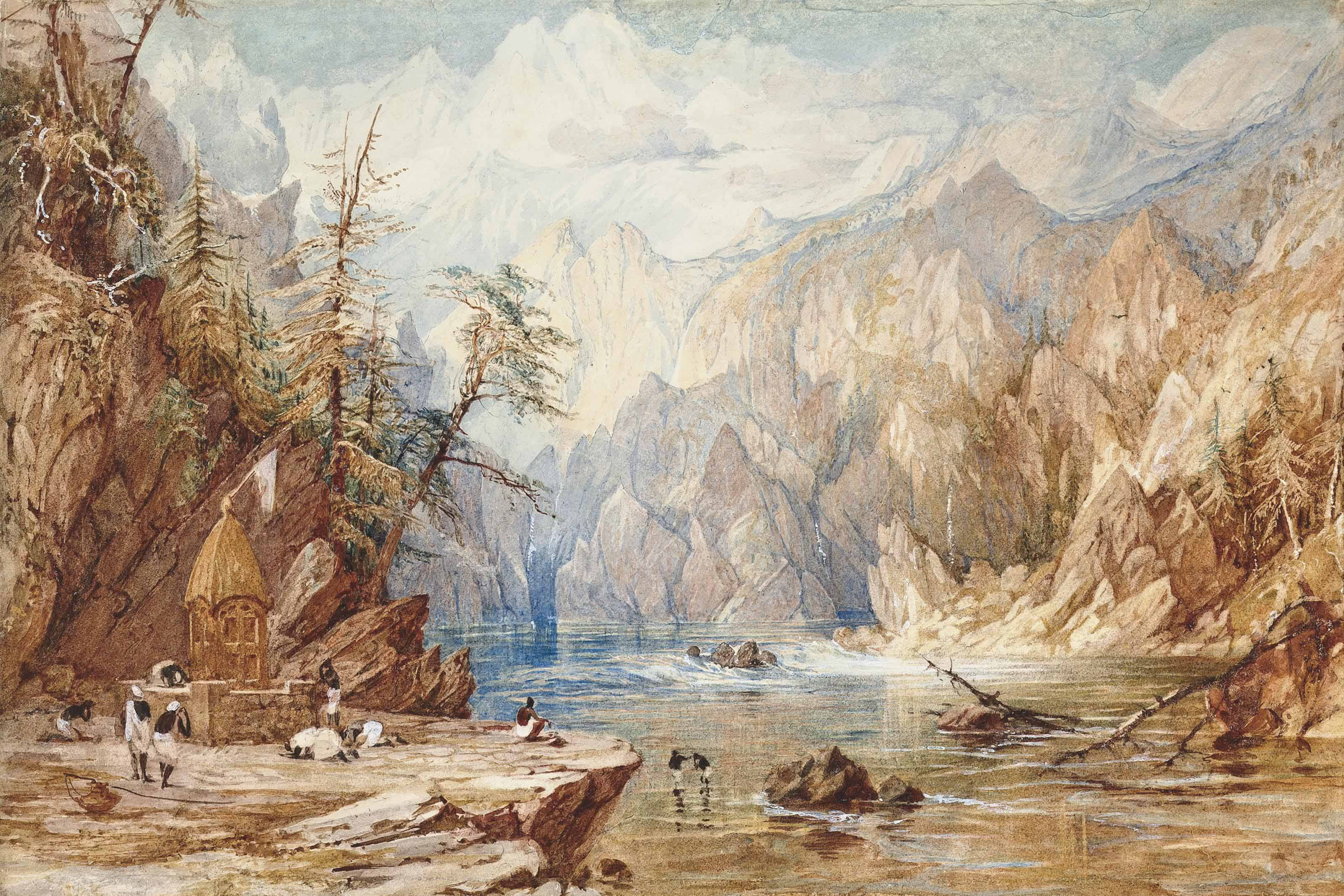 A mountainous landscape at the source of a river, with Indian figures by a shrine on its banks