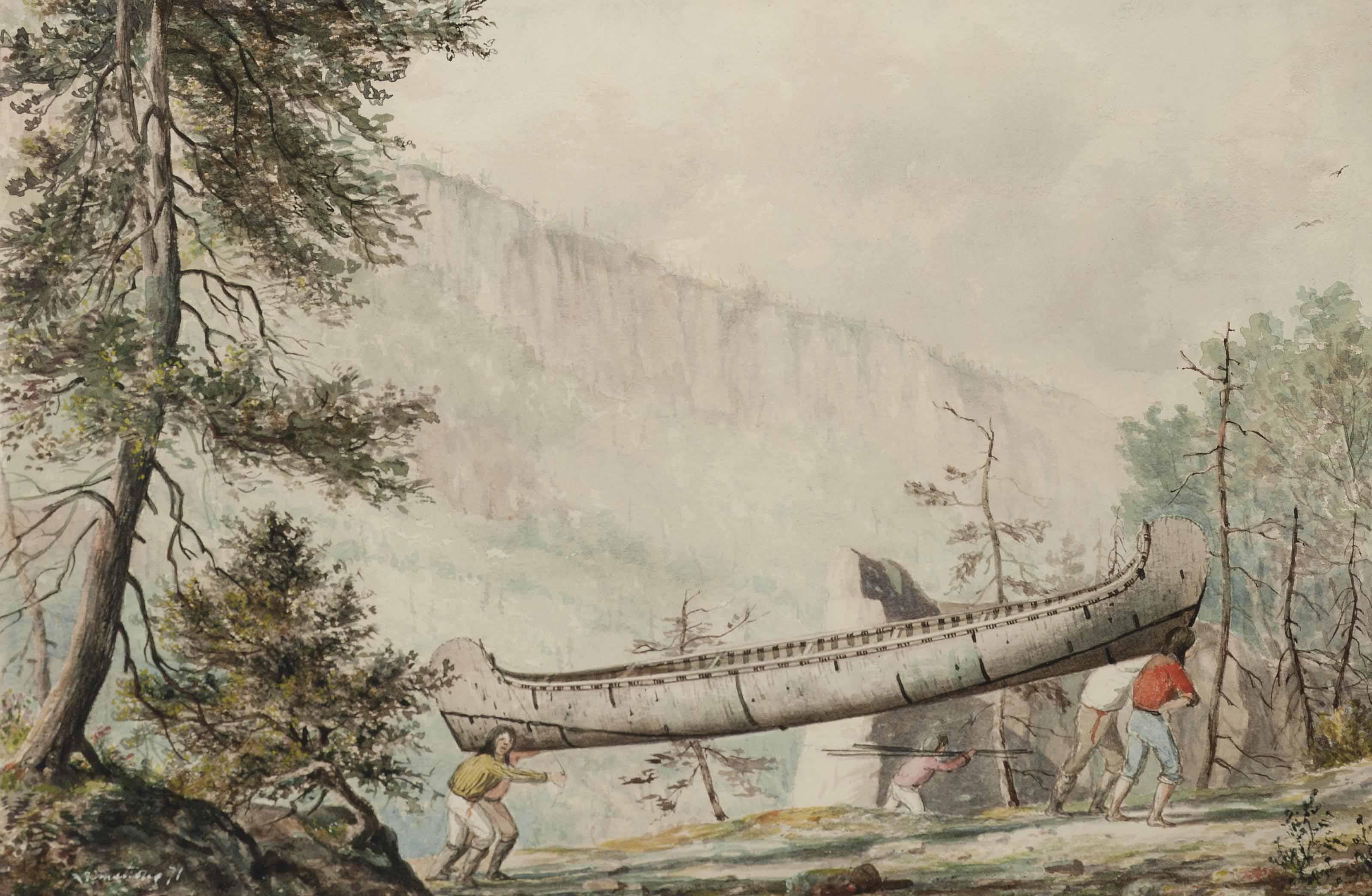 Native Americans portaging a canoe along the Nipigon River