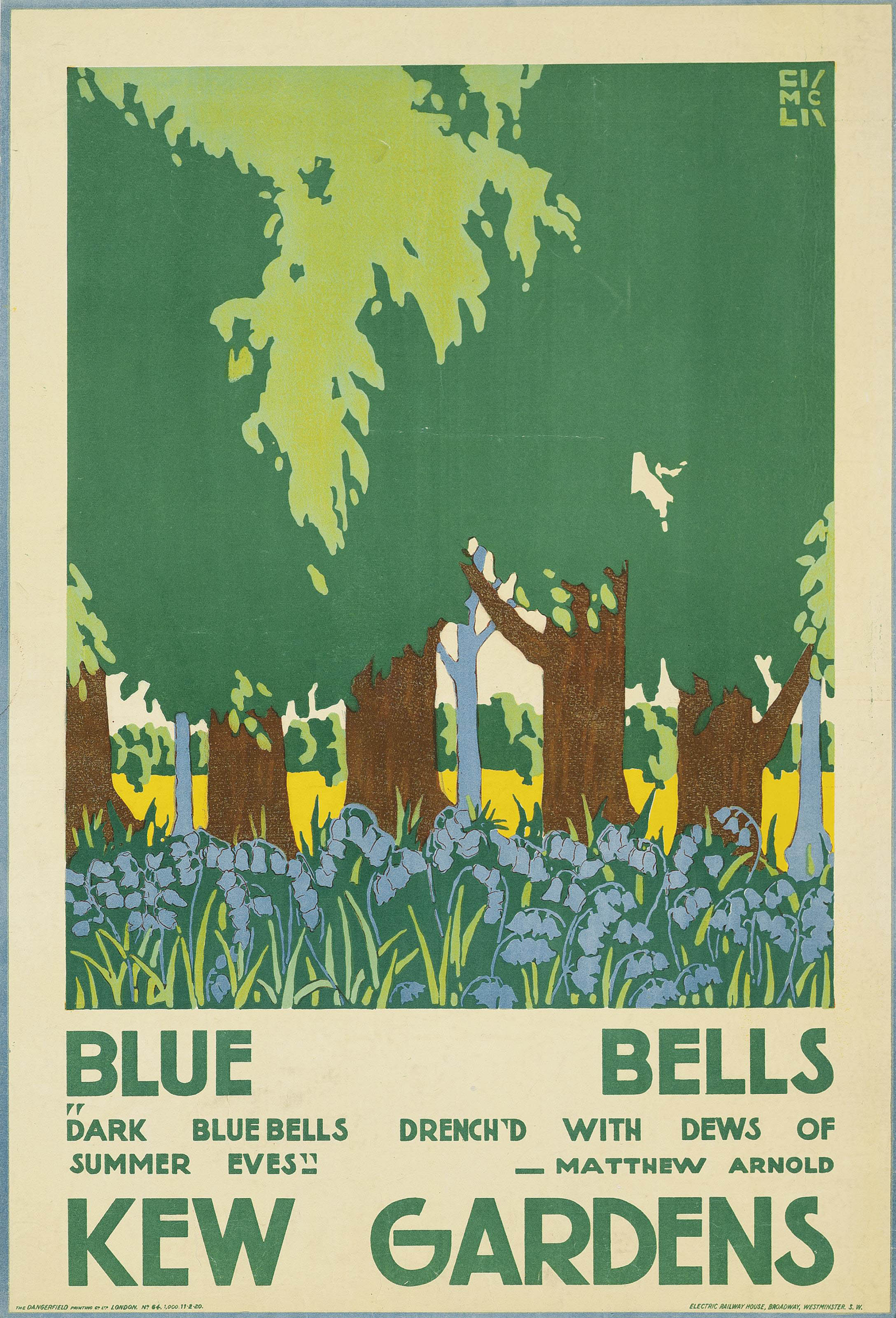 Kew Gardens Phone No: Edward McKnight Kauffer (1890-1954) , BLUEBELLS, KEW