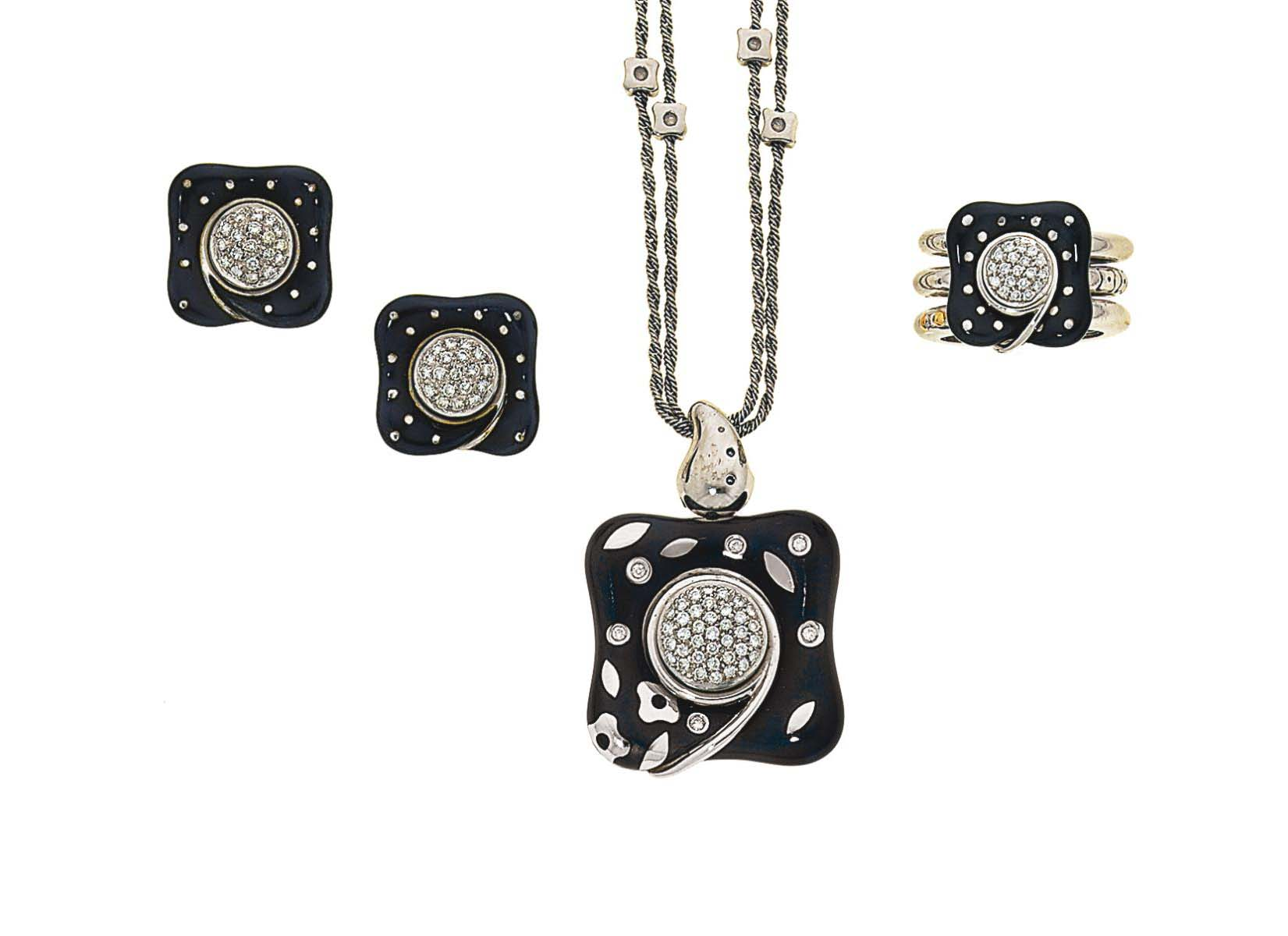 An enamel and diamond-set earring, pendant and ring suite, by La Nouvelle Bague