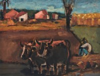 Spanish Landscape with Oxen