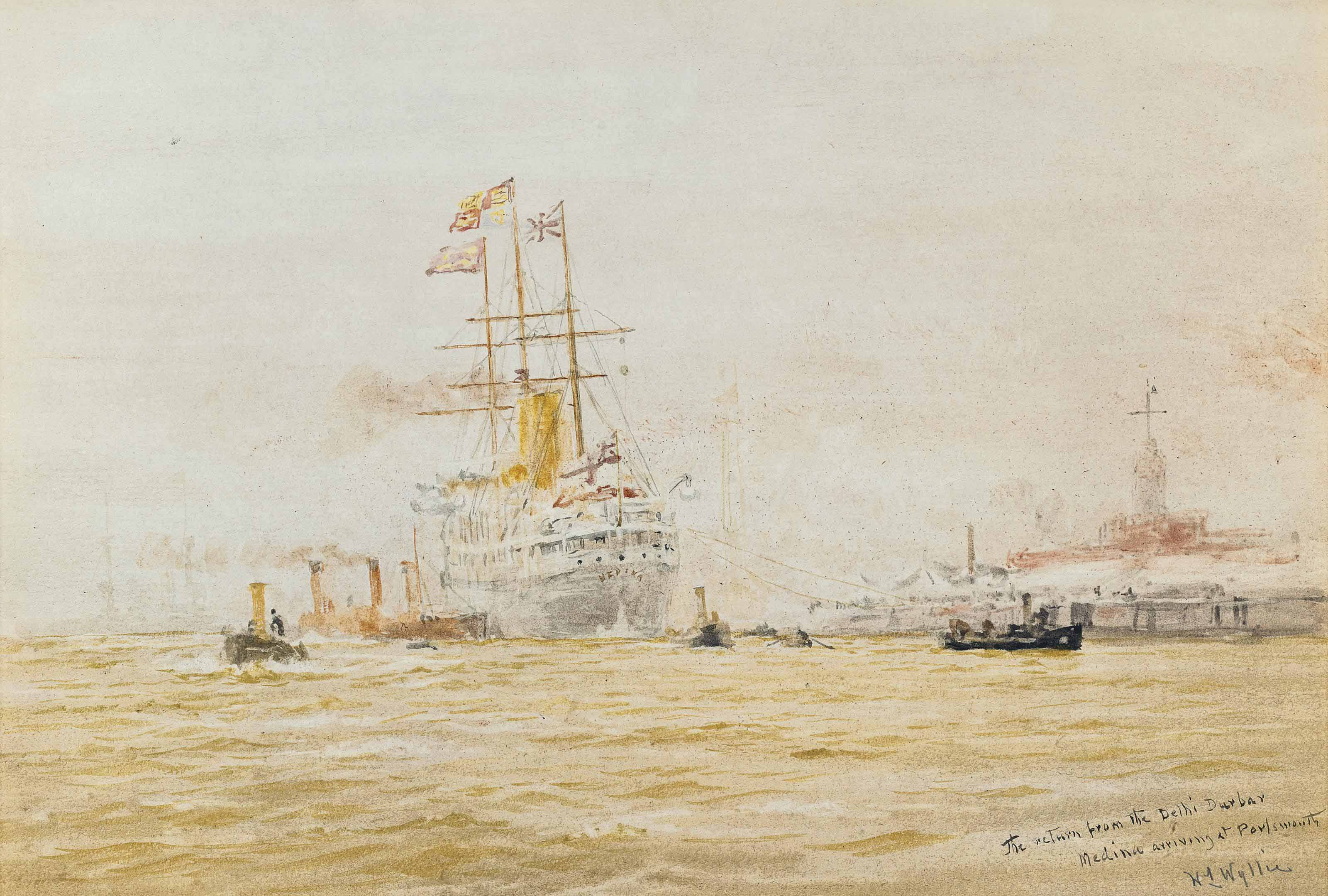 The return from the Delhi Durbar, H.M.S. Medina arriving at Portsmouth