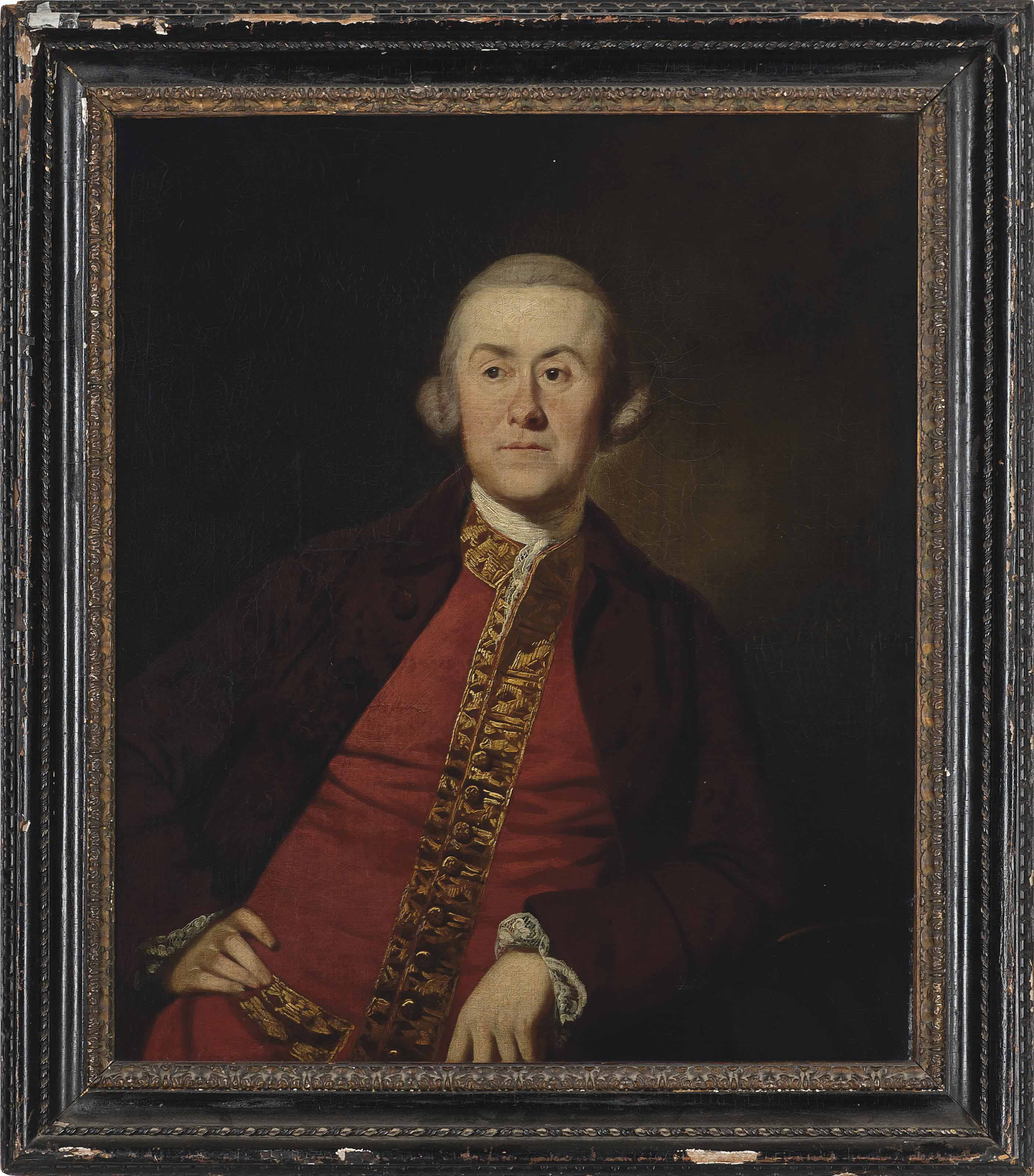 Portrait of a gentleman, possibly a member of the Lister Kaye family of Denby Grange, Wakefield, half-length, in a burgundy jacket and a red waistcoat