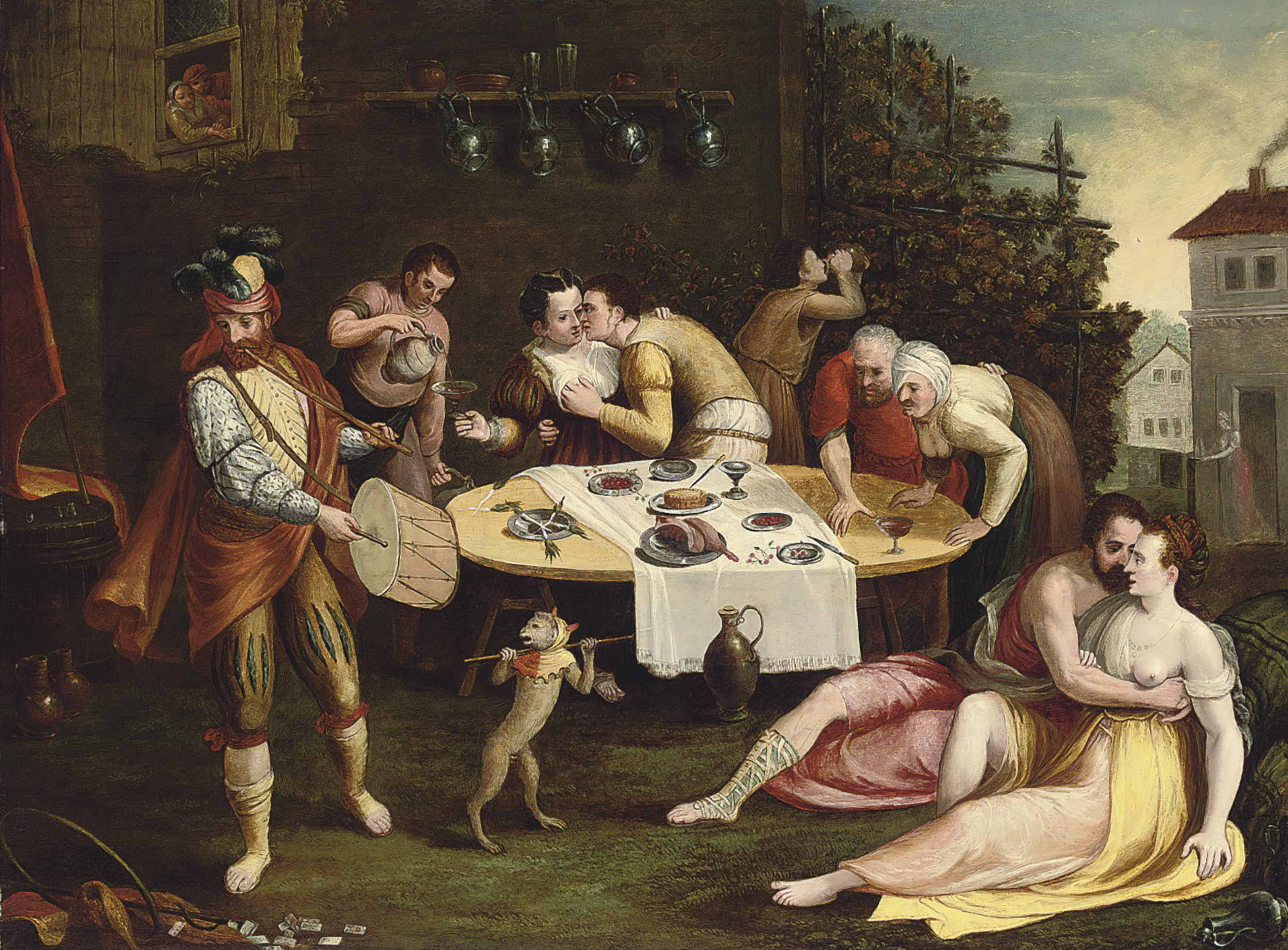 A banquet with elegant company courting