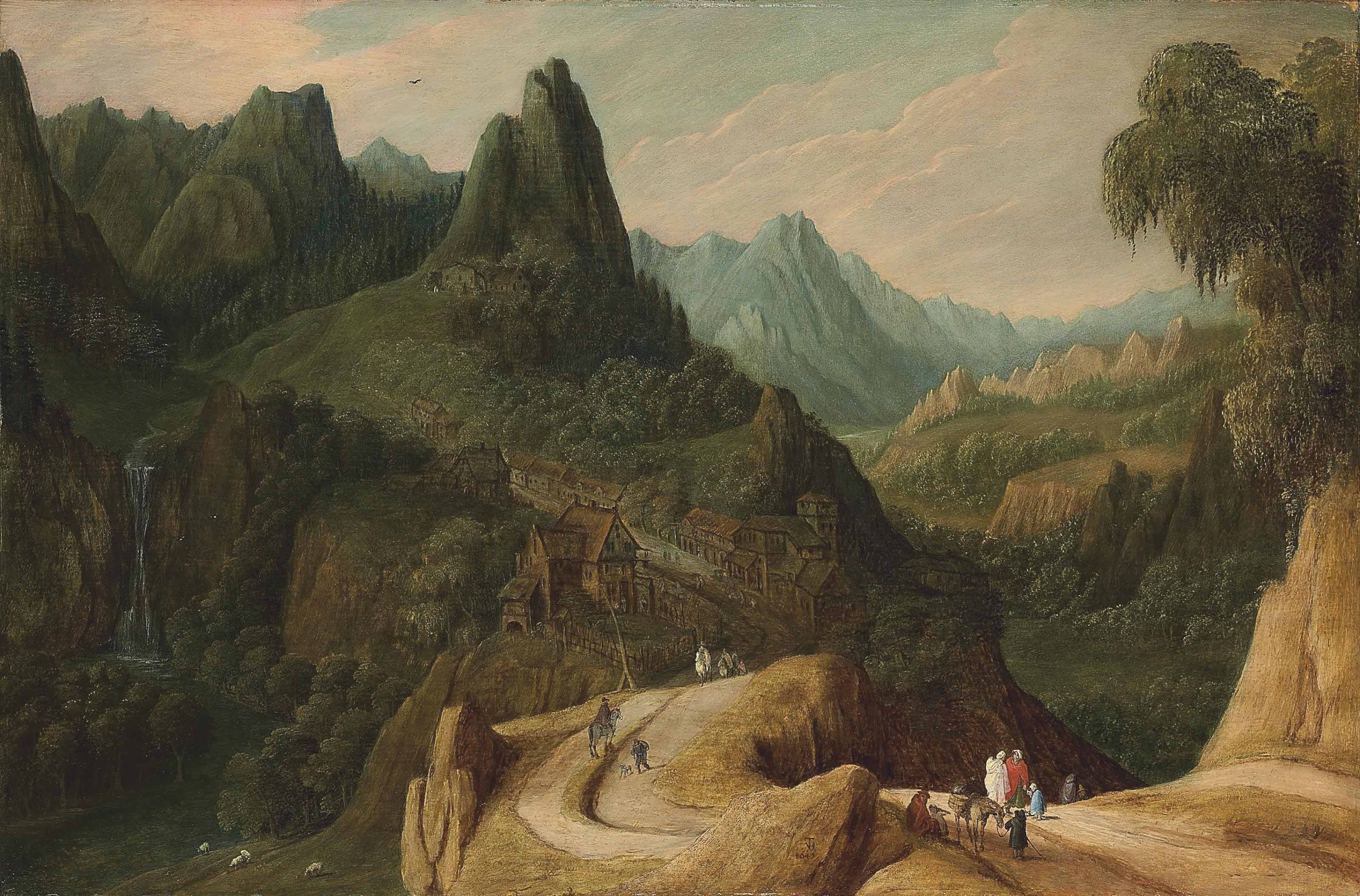 A mountainous landscape with travellers on a track