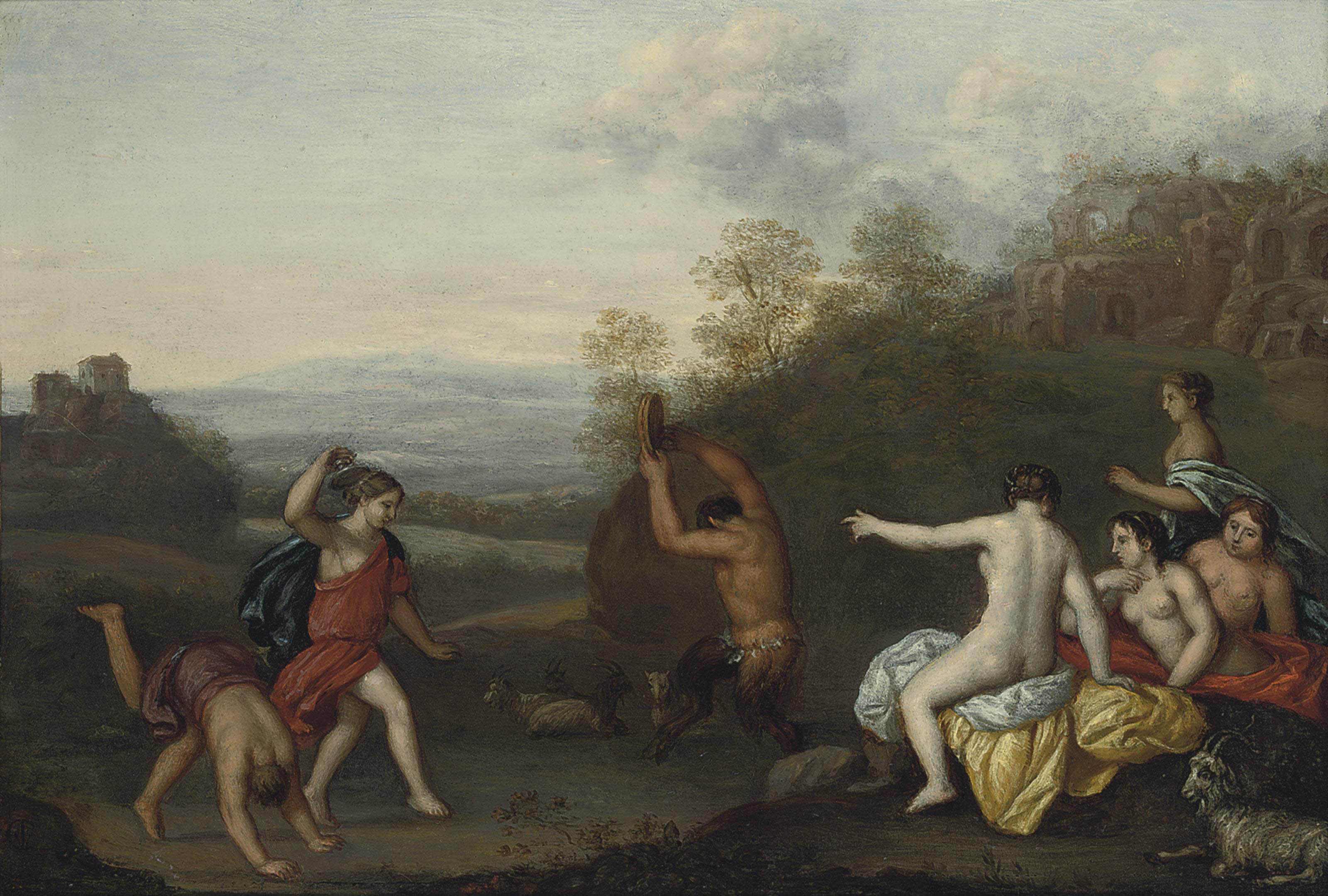 Nymphs and a Satyr dancing in a landscape, ruins beyond