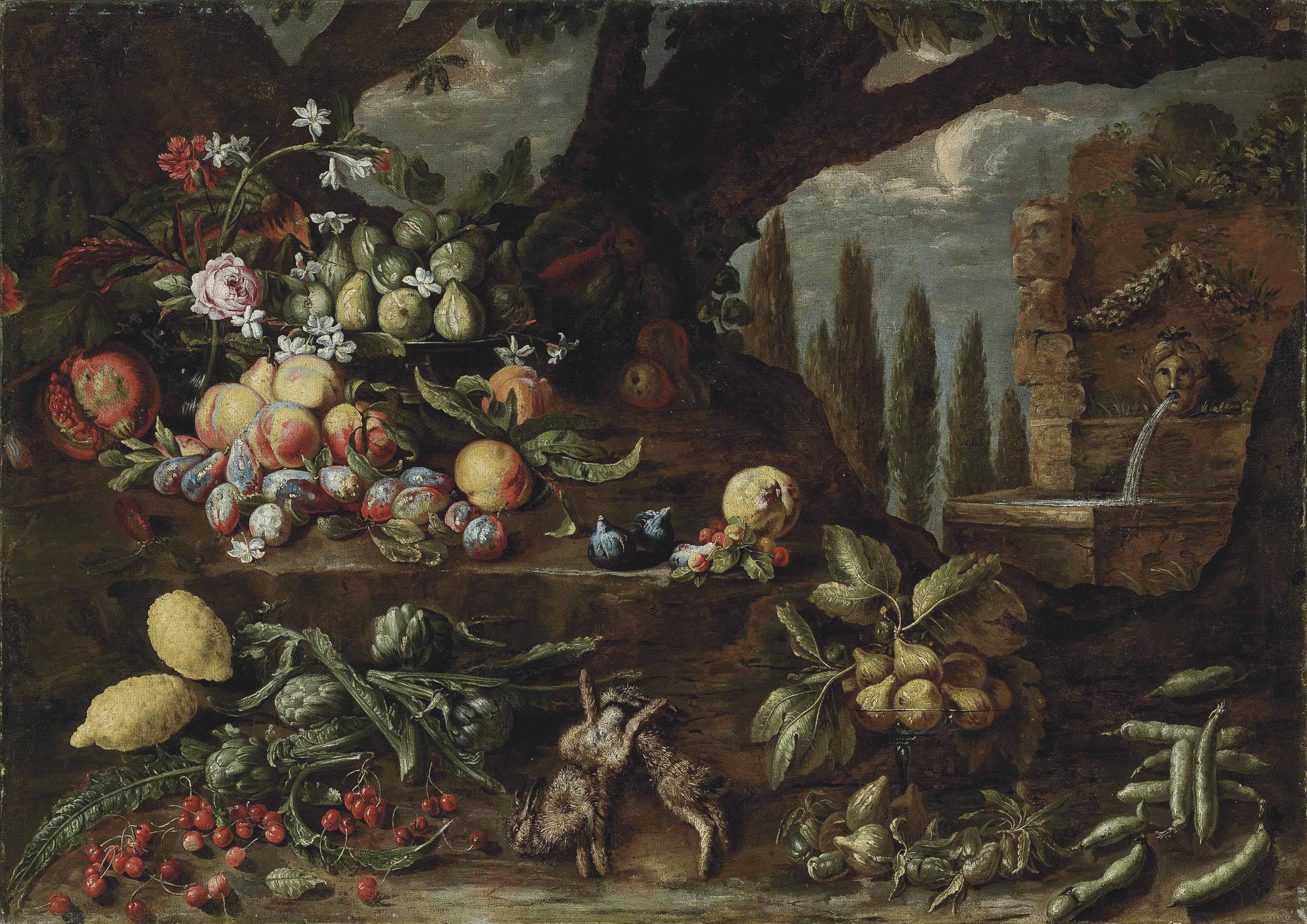 Roses, carnations, lilies, figs, peaches, plums, lemons, artichokes, cherries, other fruit and two dead hares in a wooded clearing, by a fountain