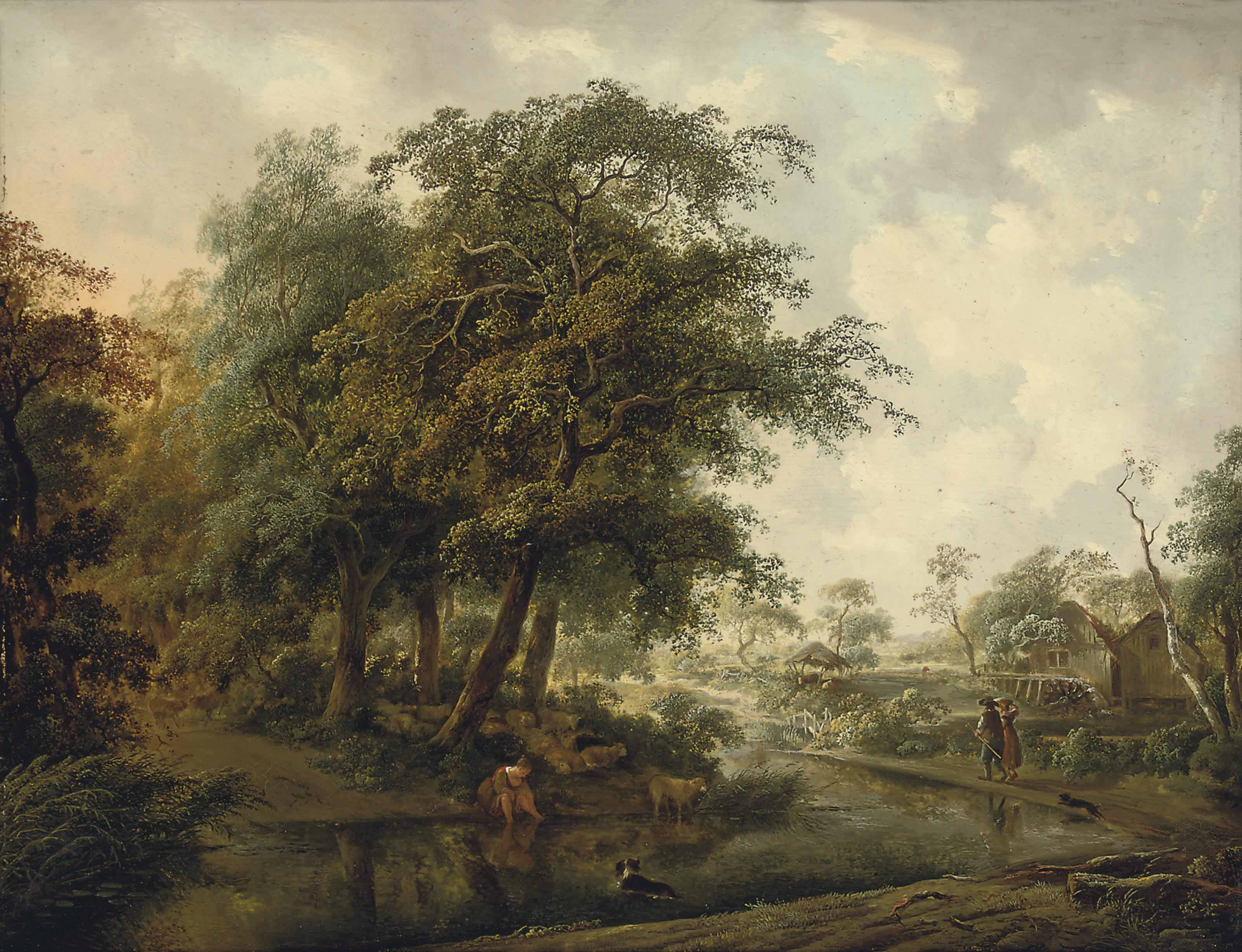 A wooded river landscape with travellers on a track, a shepherdess and her flock on a bank