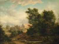 A wooded river landscape with a traveller on a track, St Albans Abbey beyond