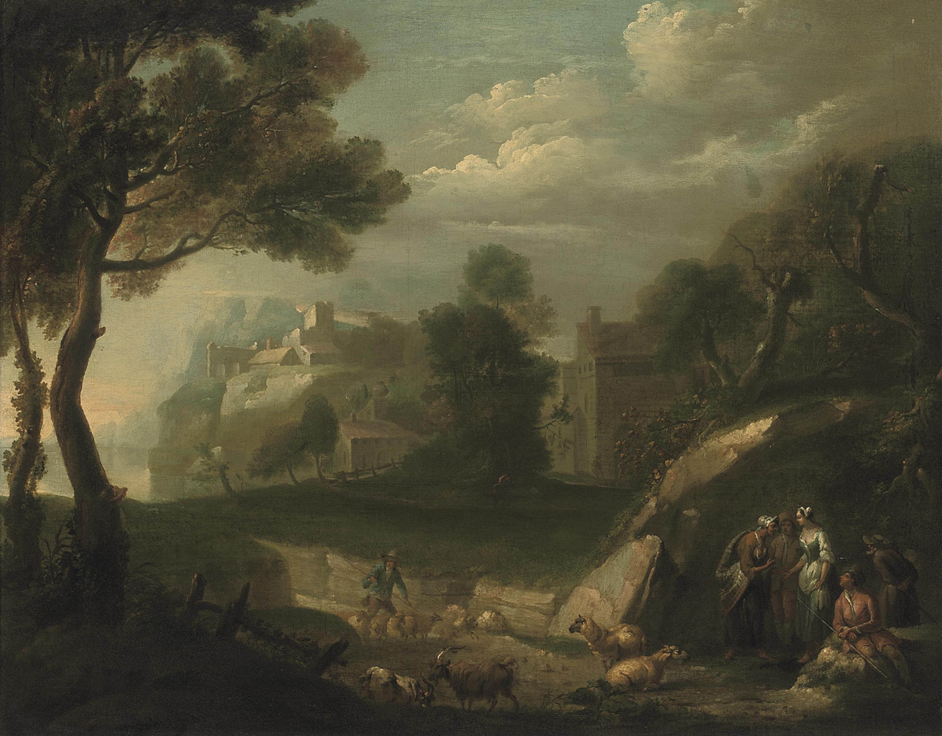 A wooded river landscape with shepherds and their flock