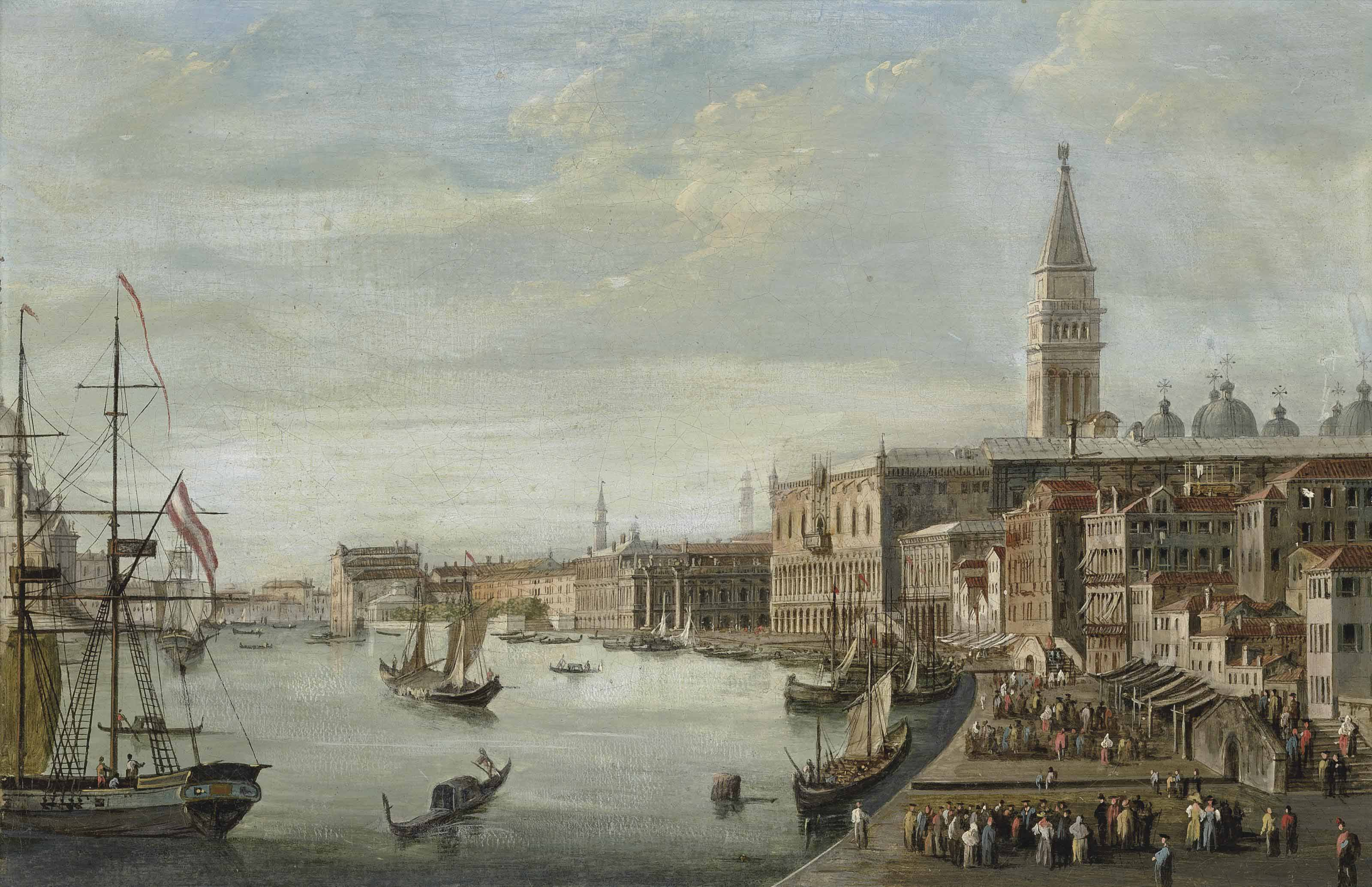The Doge's Palace with the Campanile, the Libreria Marciana and Santa Maria della Salute beyond