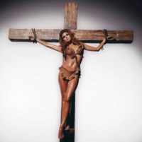 Raquel Welch on the cross, Los Angeles, 1970