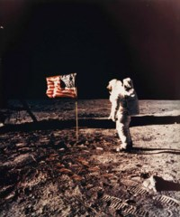 Buzz Aldrin standing beside the U.S. flag, Apollo 11, July 1969