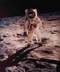 Buzz Aldrin with Lunar Module reflected in his visor, Apollo 11, July 1969
