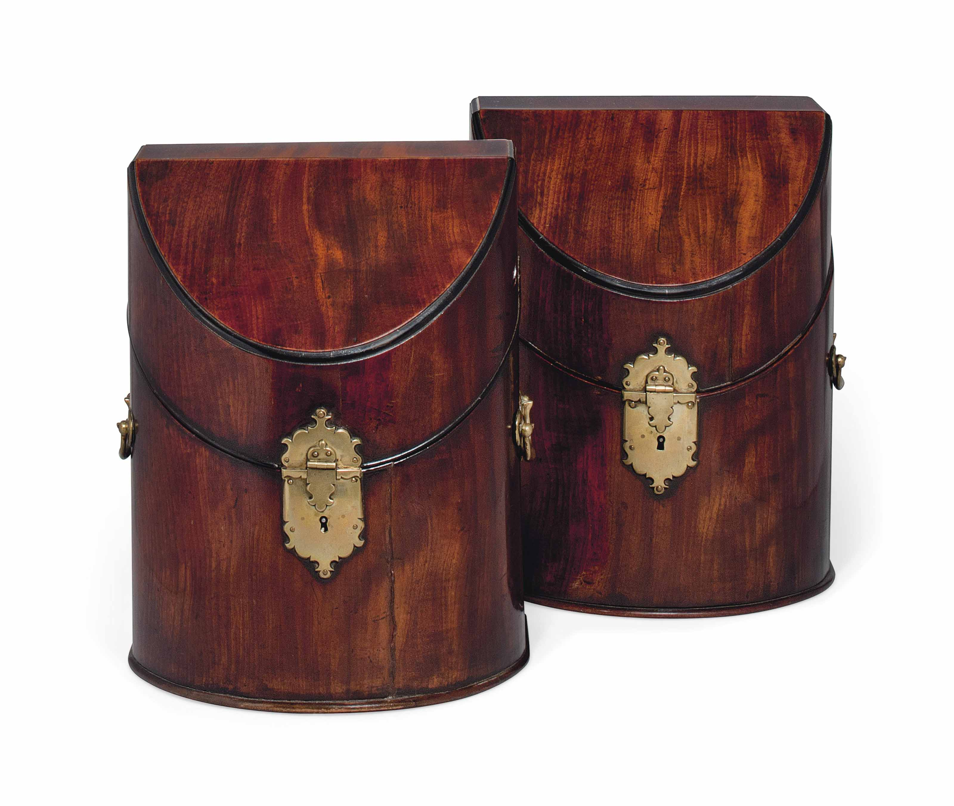 A PAIR OF GEORGE II MAHOGANY KNIFE BOXES
