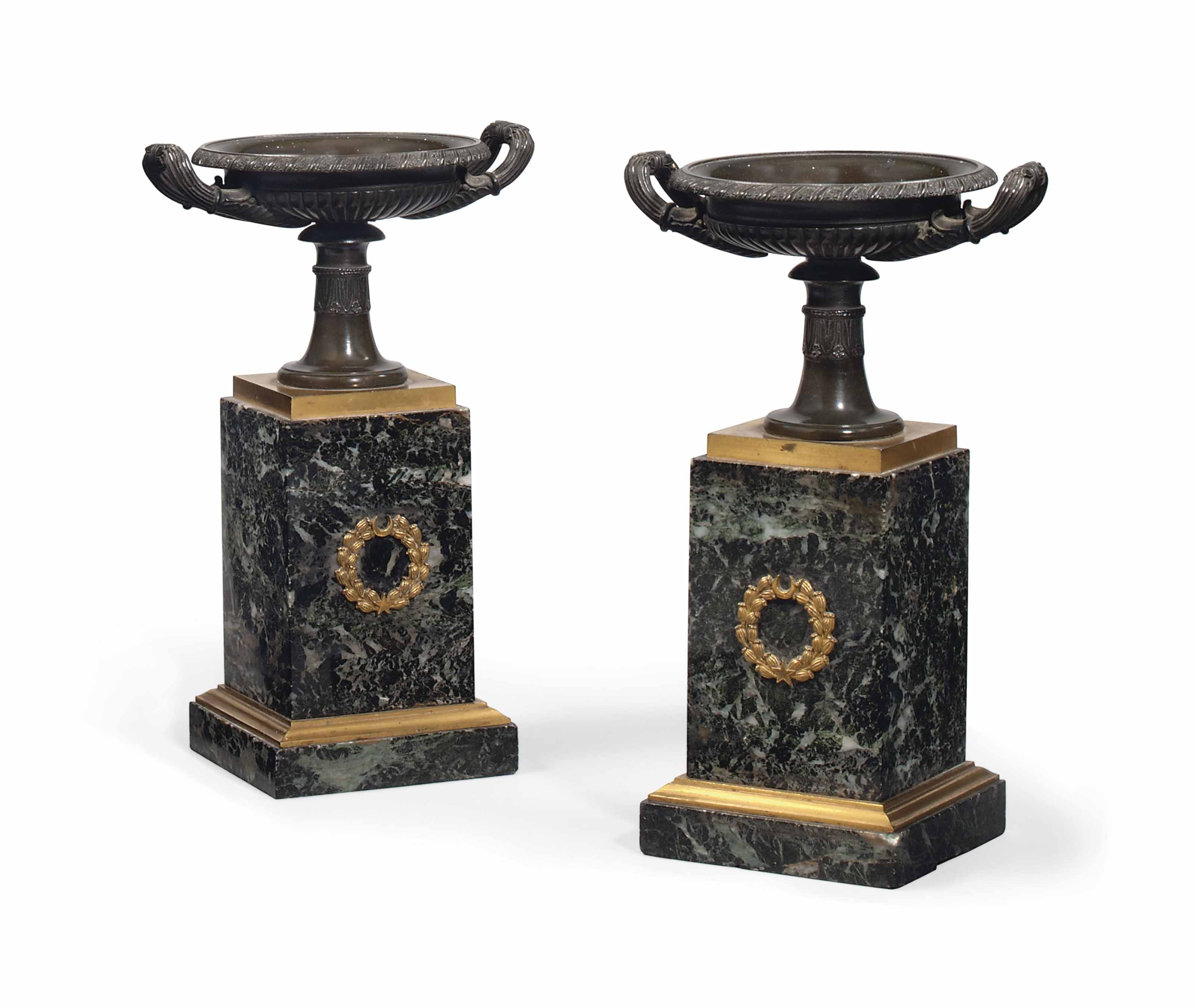 A PAIR OF FRENCH BRONZE AND VERDE ANTICO MARBLE TAZZA