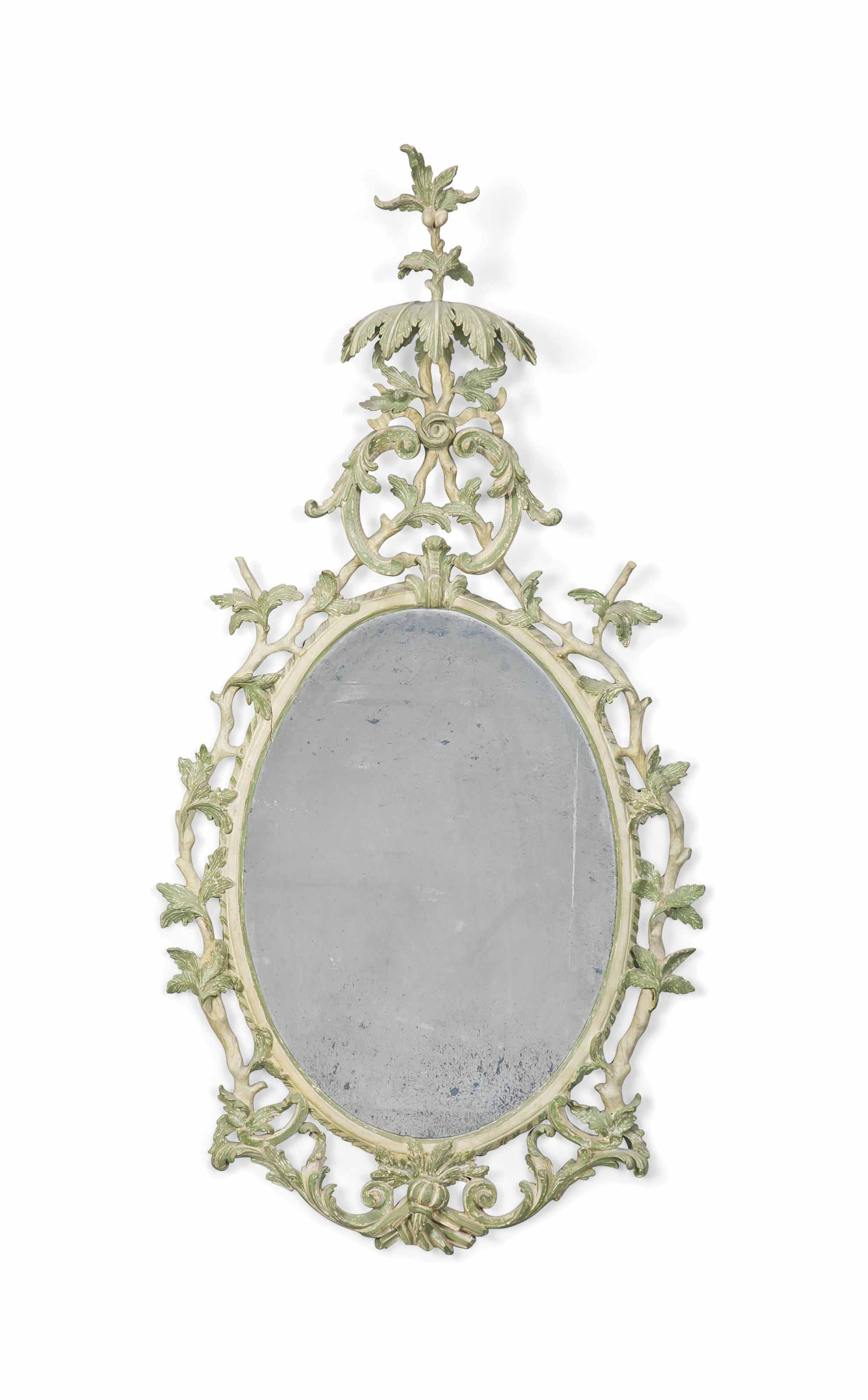 A GREY AND PALE-GREEN PAINTED MIRROR