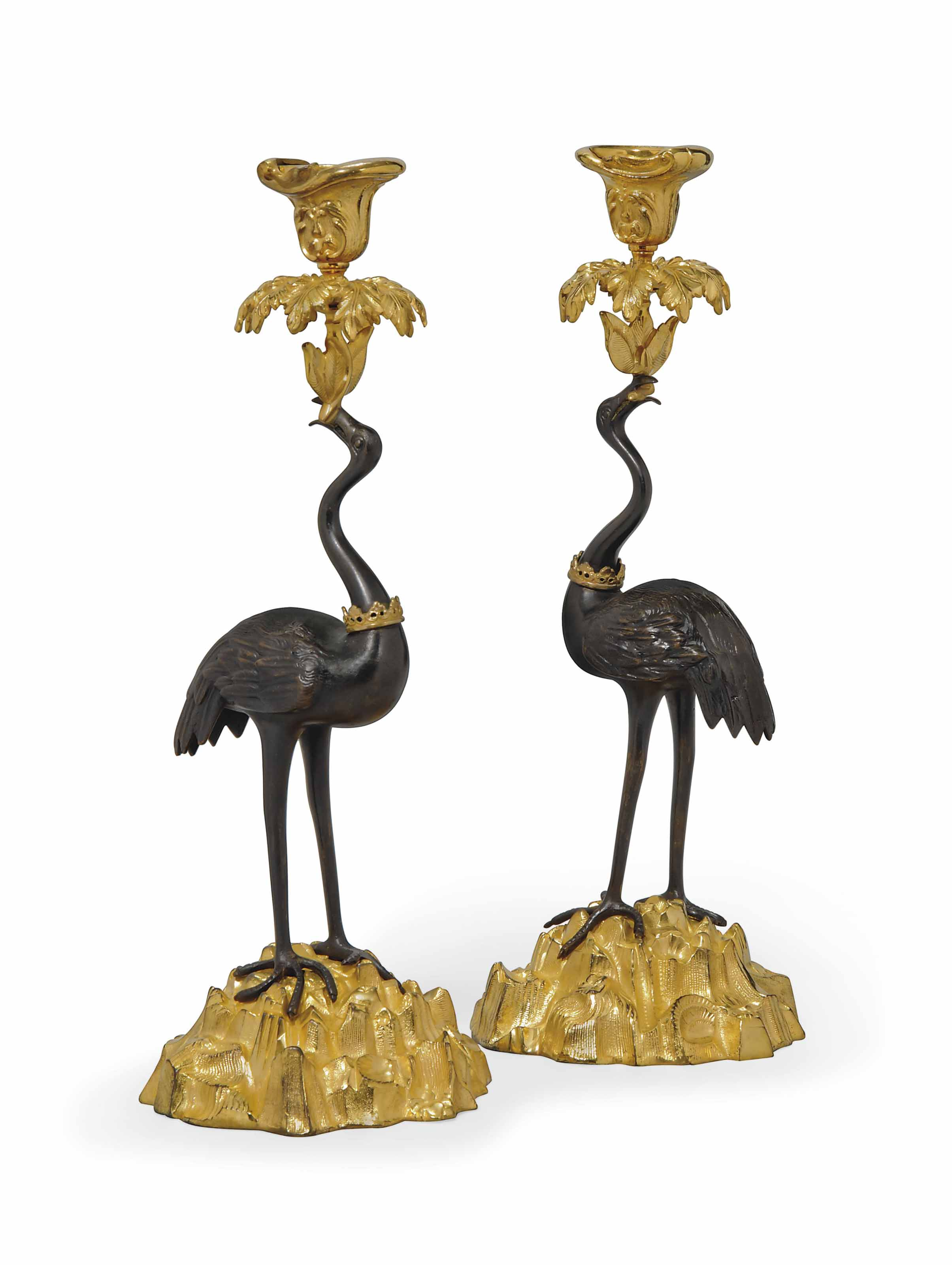 A PAIR OF WILLIAM IV BRONZE CANDLESTICKS